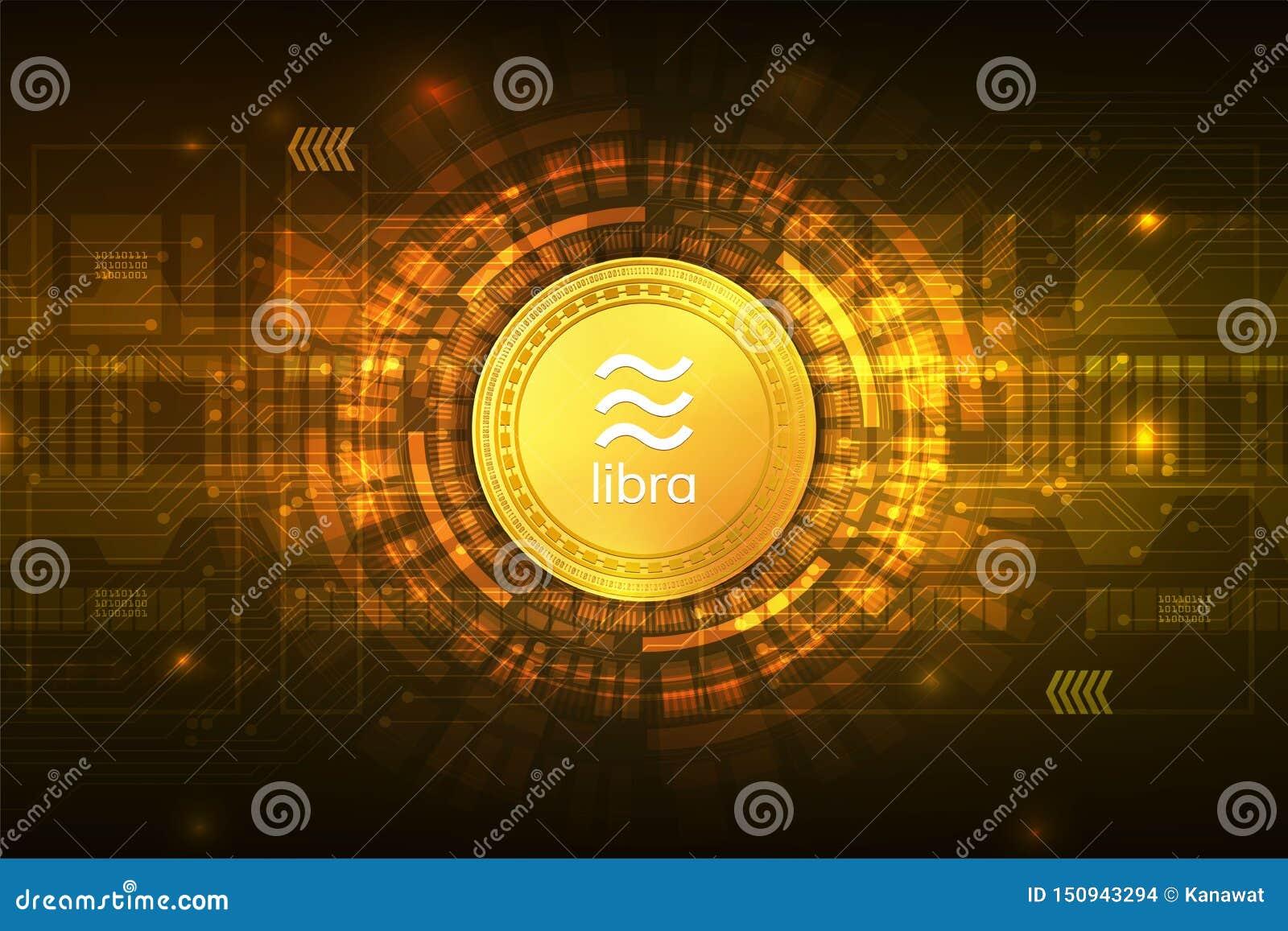 Ψηφιακό νόμισμα cryptocurrency Libra με το αφηρημένο διανυσματικό υπόβαθρο κυκλωμάτων για την επιχείρηση και on-line το μάρκετινγ
