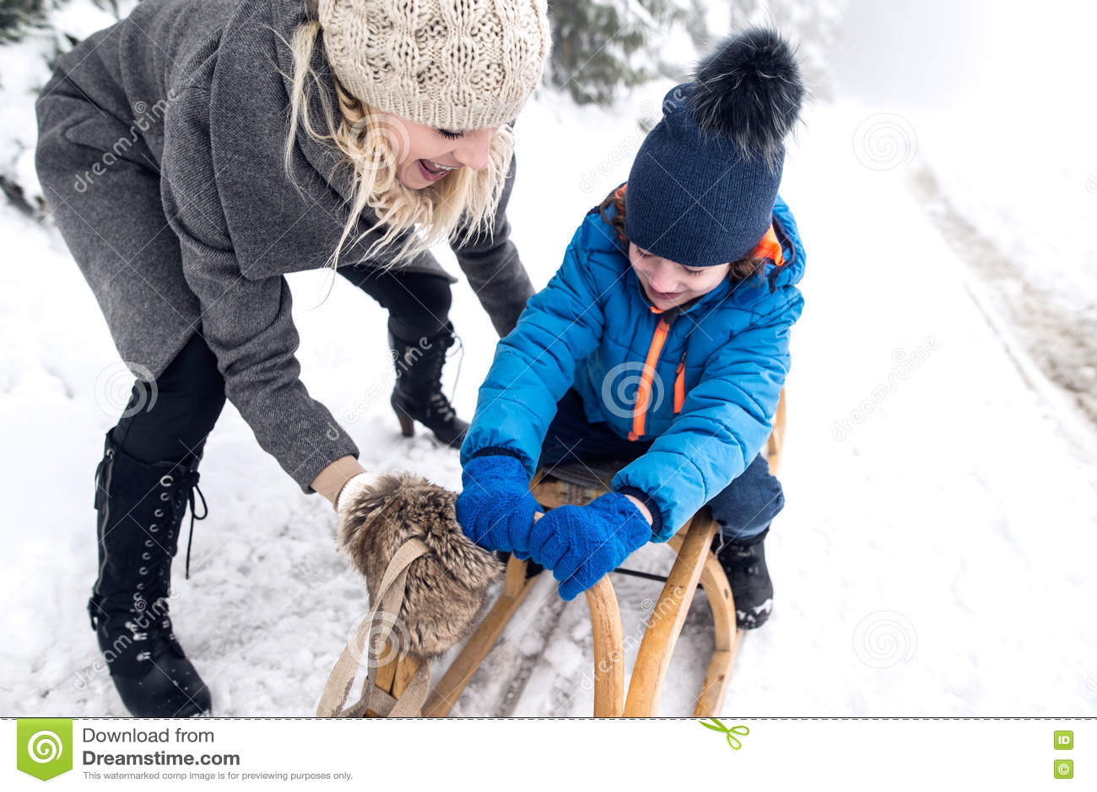 Ωθώντας γιος μητέρων στο έλκηθρο Ομιχλώδης άσπρη χειμερινή φύση