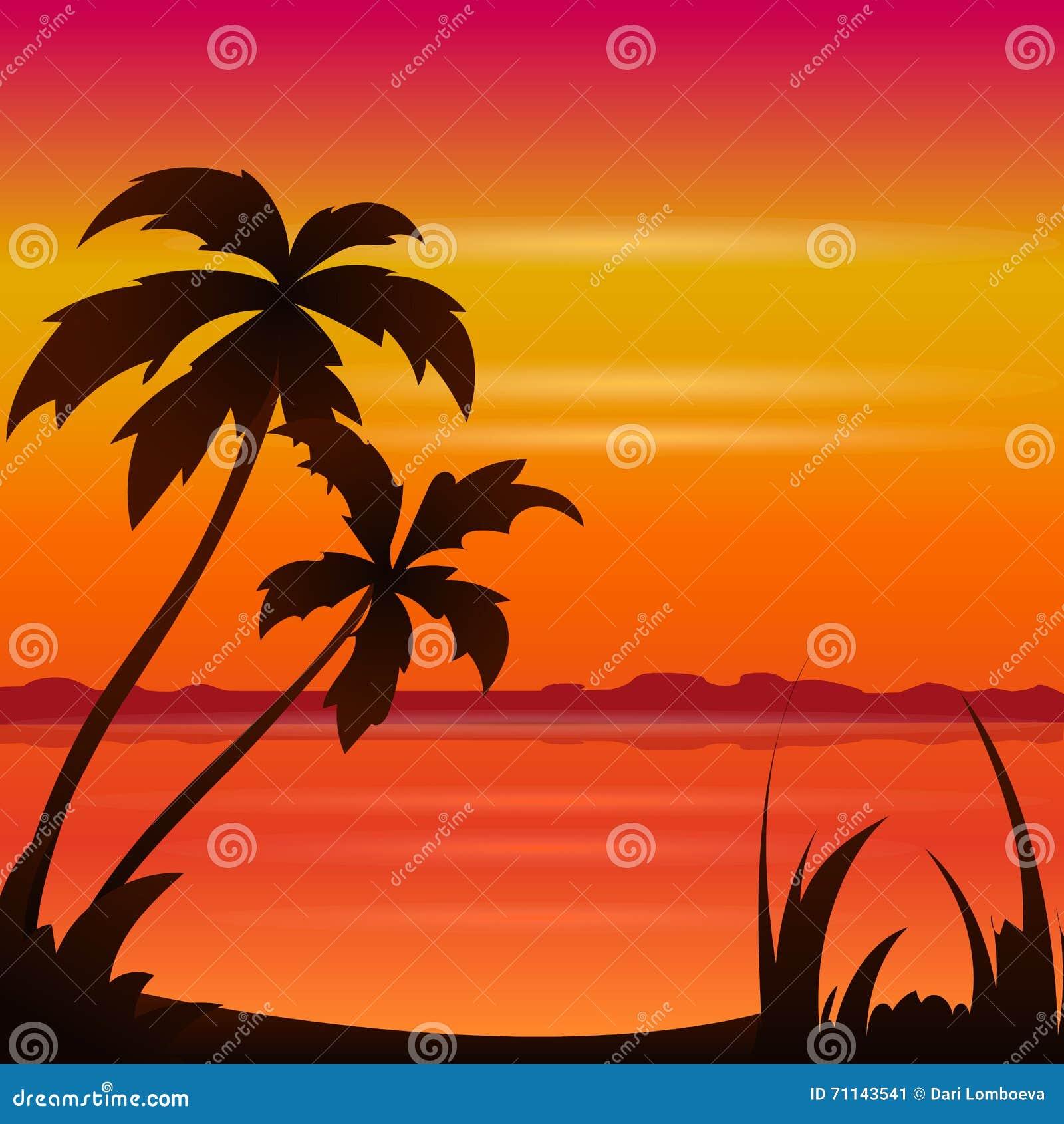 Ωκεάνια θερινή παραλία ηλιοβασιλέματος με τον τροπικό φοίνικα πέρα από τον ορίζοντα