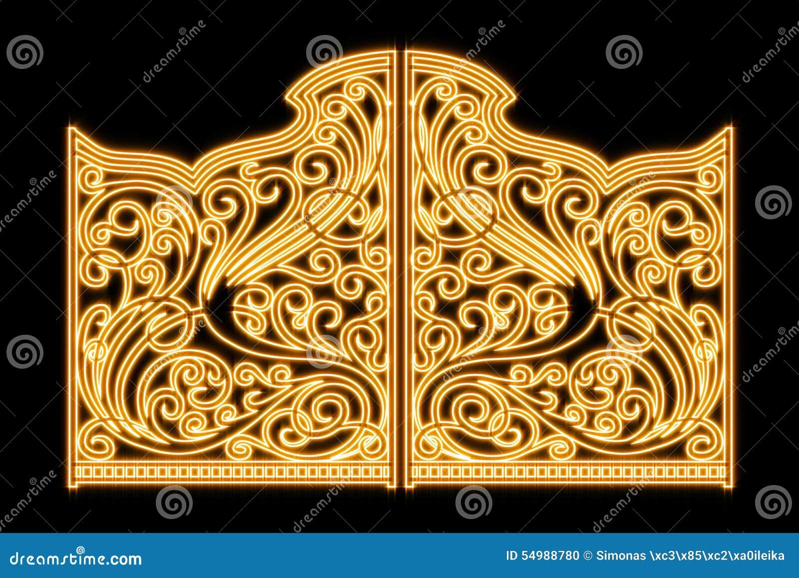 Όμορφες λαμπρές πύλες διακοσμήσεων σιδήρου