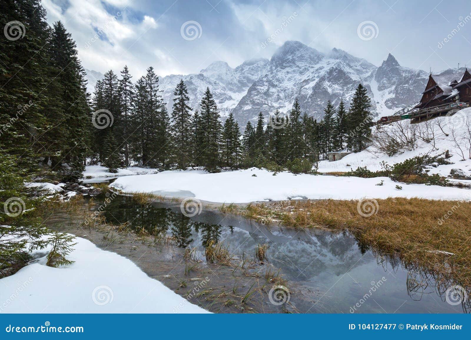 Όμορφη άποψη βουνών Tatra στον κολπίσκο ψαριών