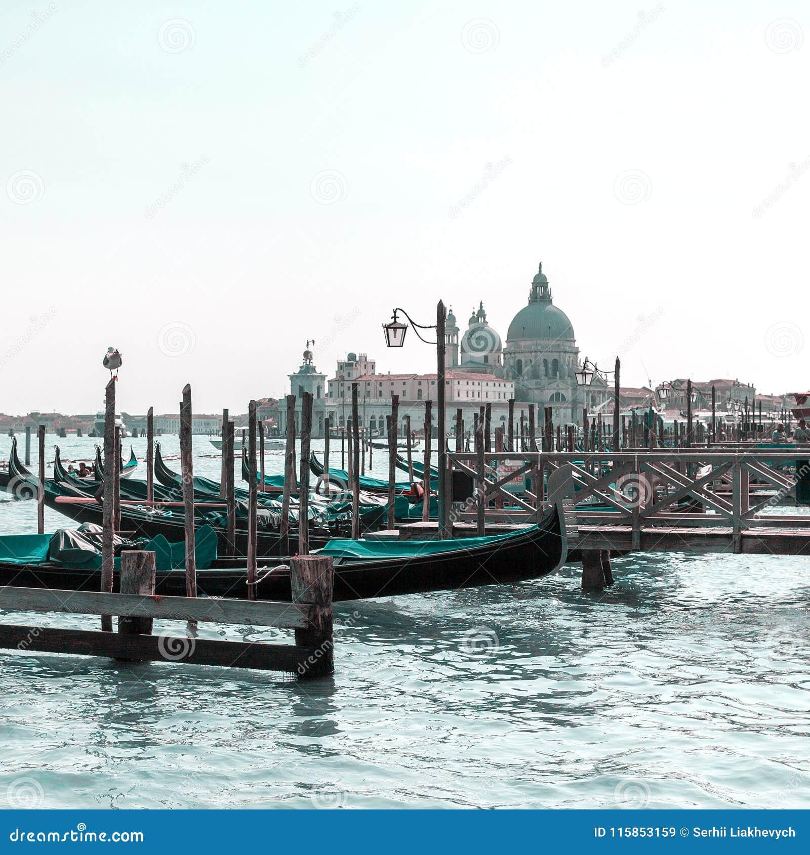 Όμορφη άποψη της παραδοσιακής γόνδολας στο κανάλι Grande με το χαιρετισμό della Di Σάντα Μαρία βασιλικών στη Βενετία, Ιταλία