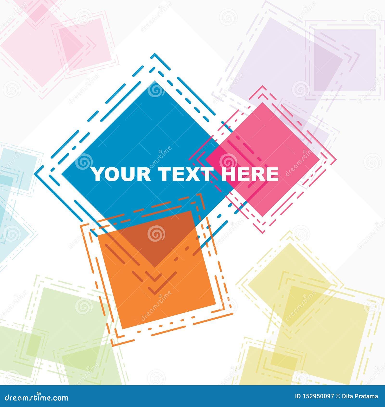 Όμορφη αφίσα ευχετήριων καρτών στο ζωηρόχρωμο αφηρημένο τετράγωνο
