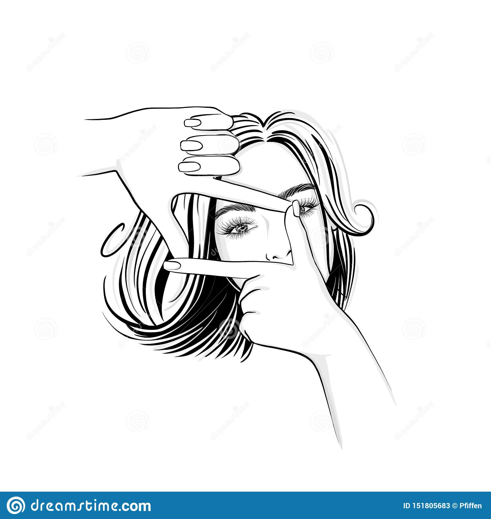 Όμορφη γυναίκα με τη μέση τρίχα μήκους που κοιτάζει μέσω ενός πλαισίου χεριών