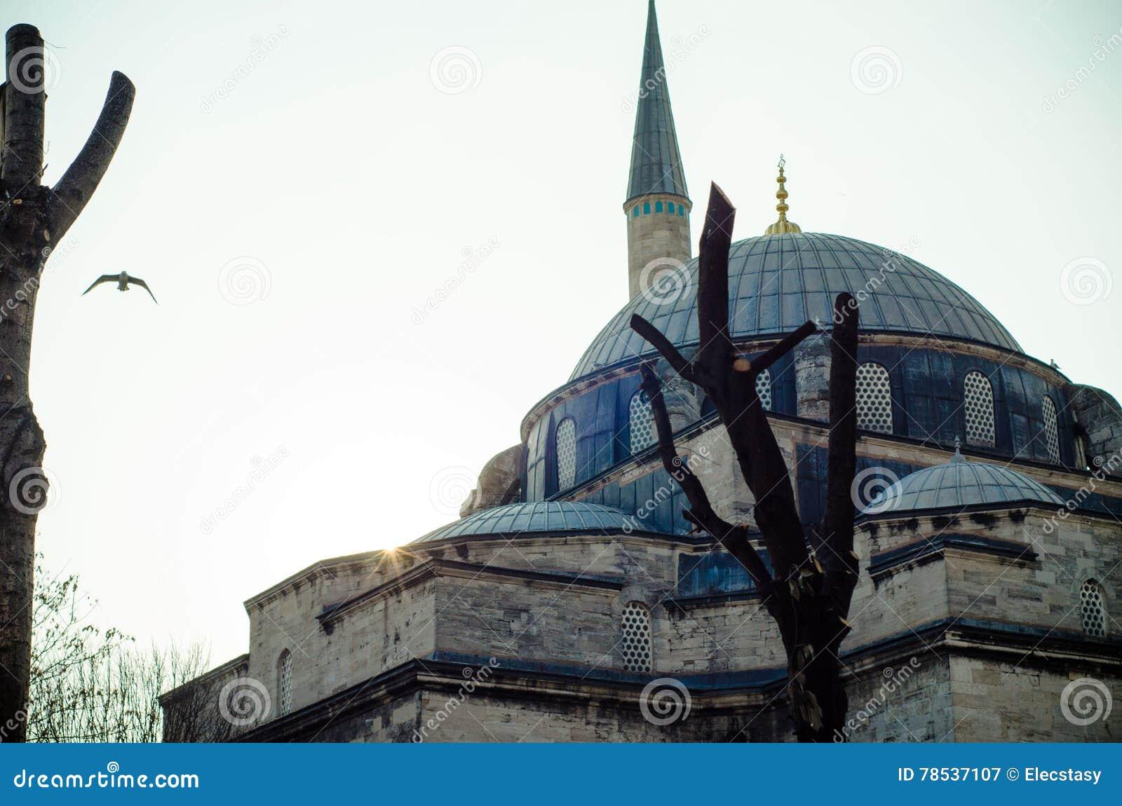 Όμορφη εικόνα ένα από τα μουσουλμανικά τεμένη της Ιστανμπούλ στο ηλιοβασίλεμα