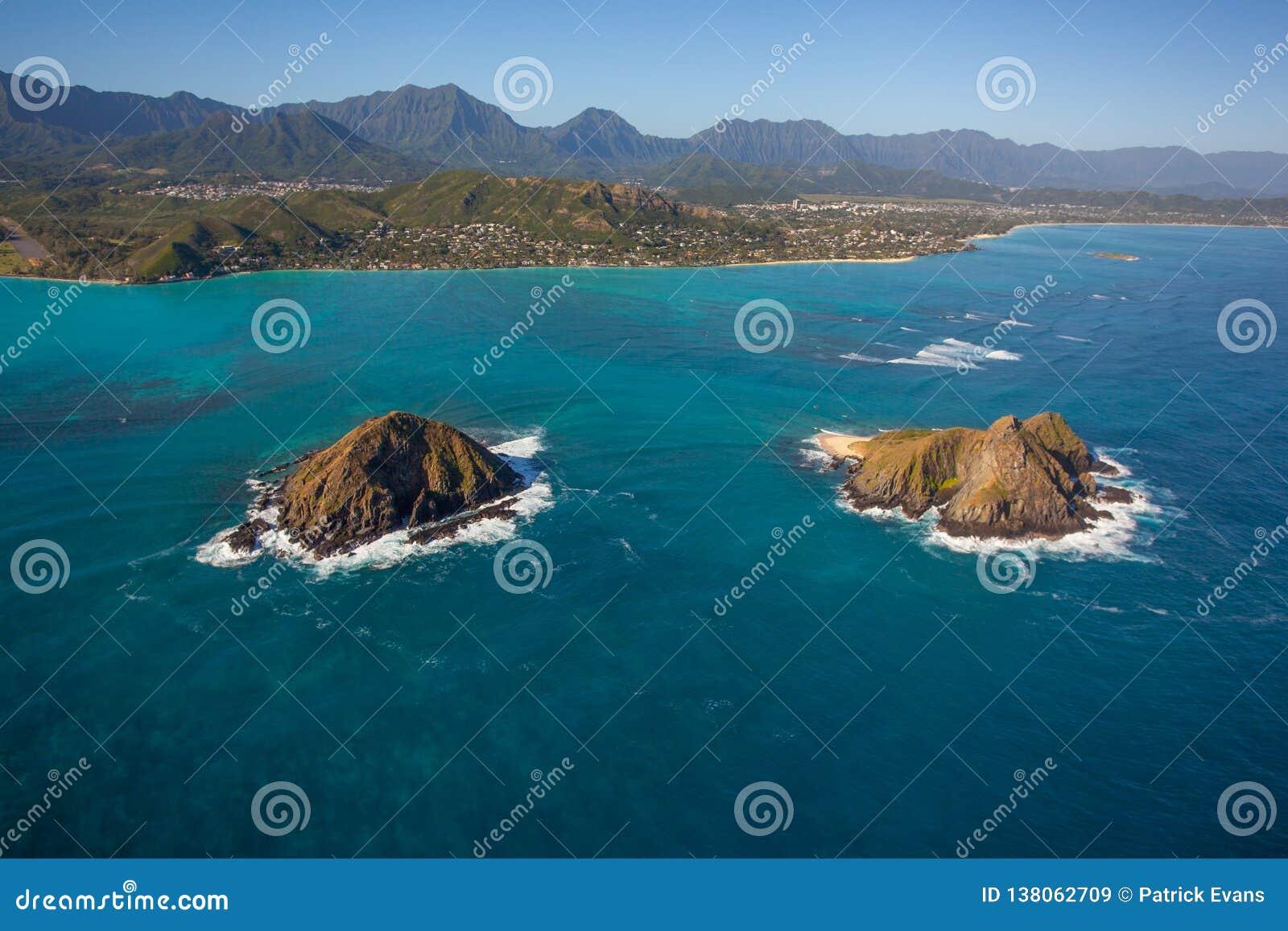 Όμορφη εναέρια άποψη των νησιών Oahu Χαβάη Moke