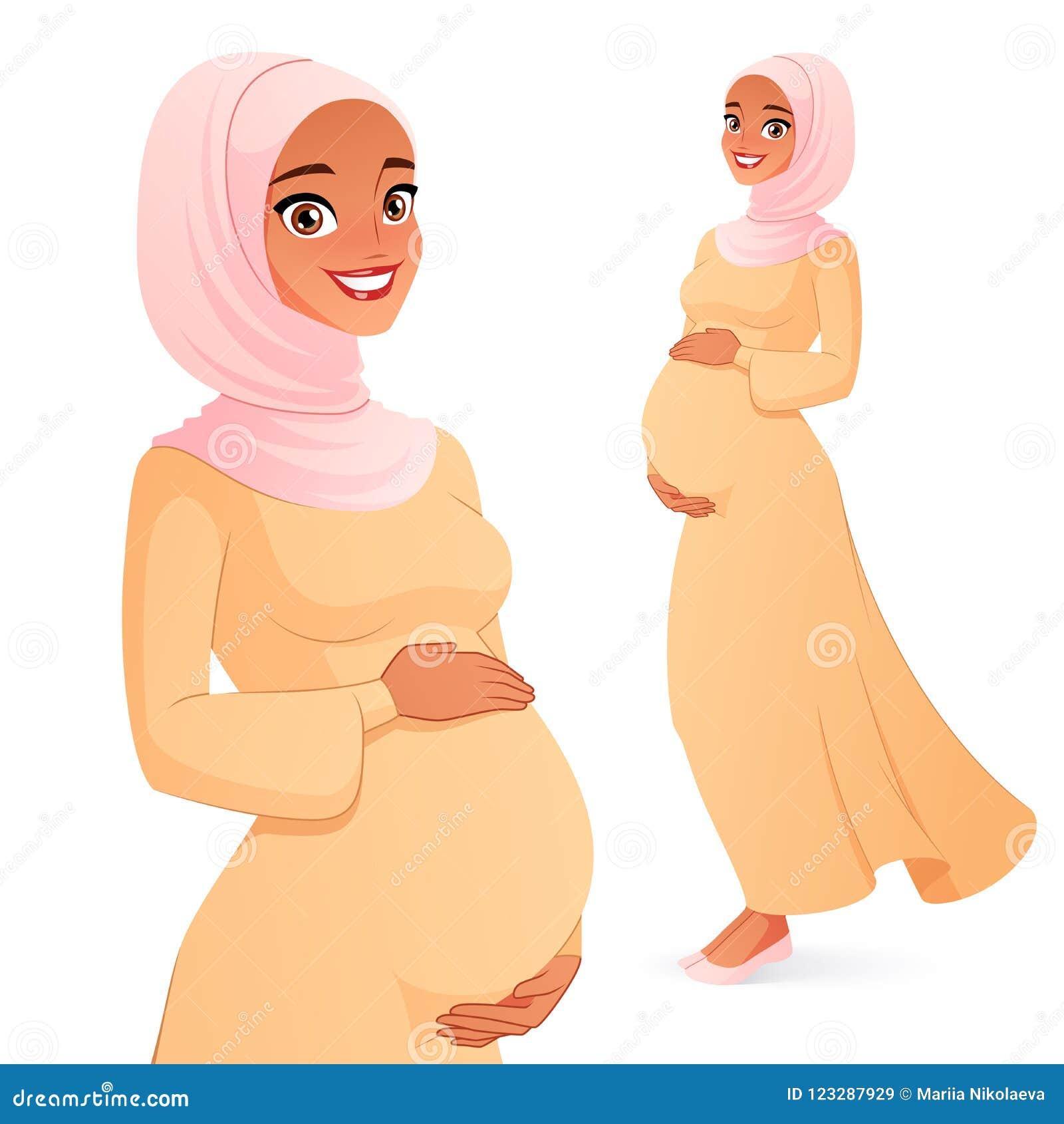 Όμορφη μουσουλμανική έγκυος γυναίκα στο hijab Απομονωμένη διανυσματική απεικόνιση
