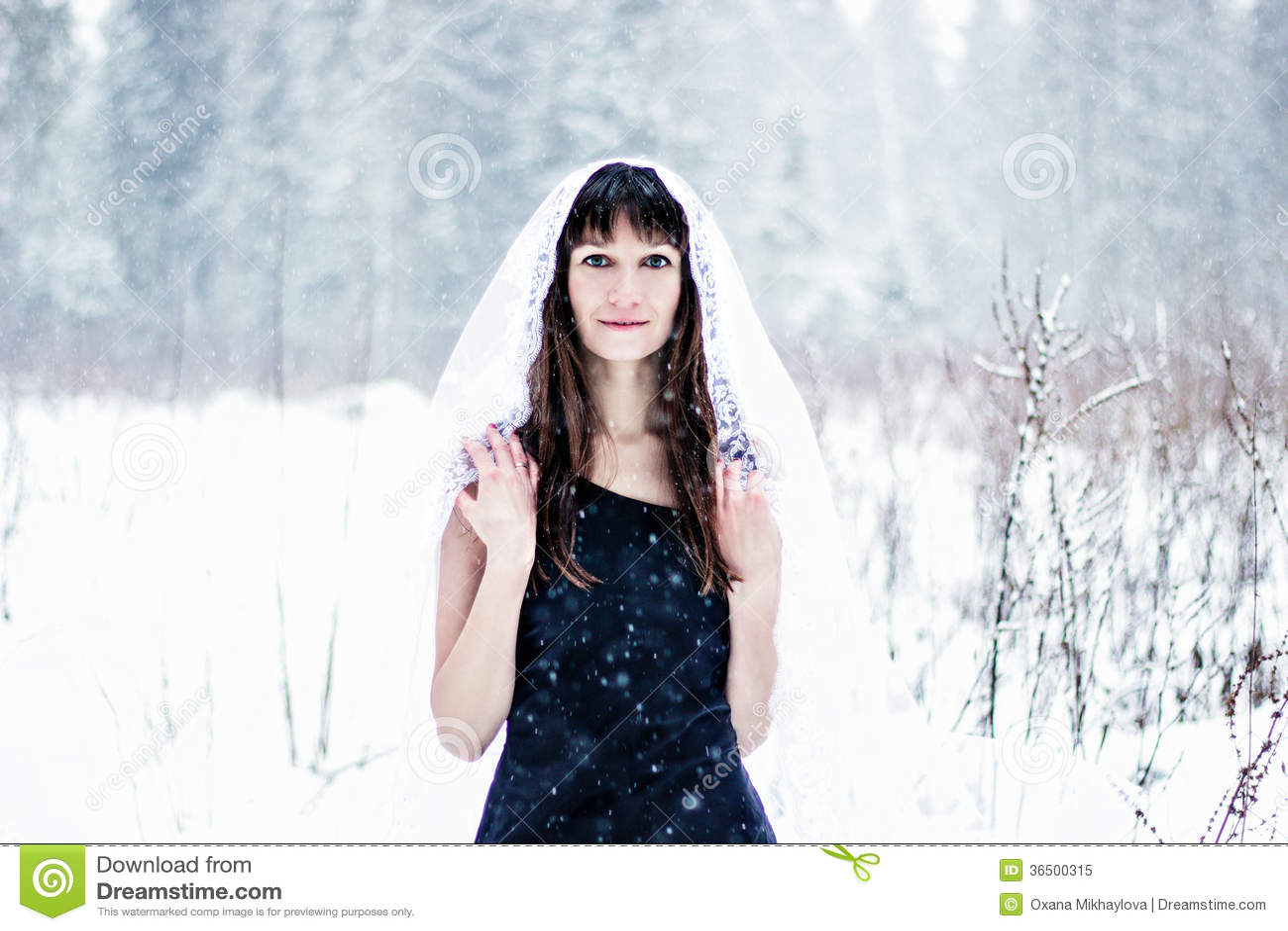 Όμορφη νύφη κάτω από το πέπλο στο άσπρο υπόβαθρο χιονιού