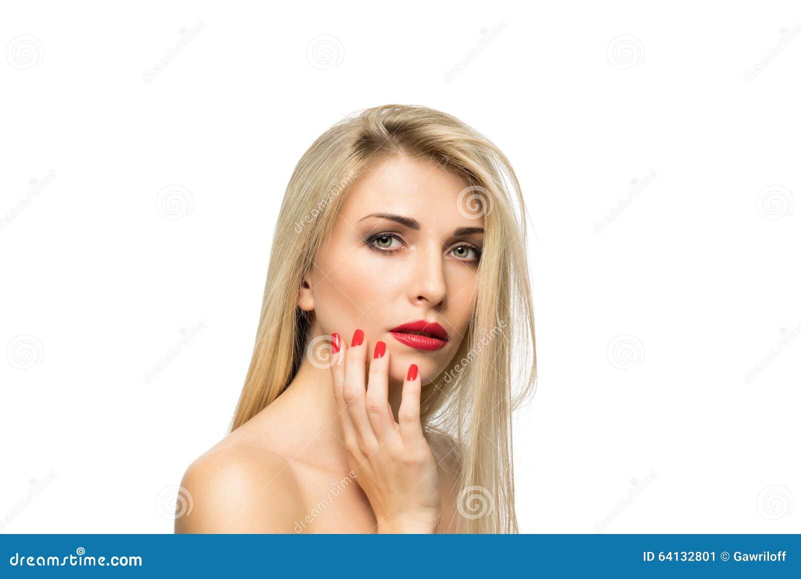 Όμορφη ξανθή κινηματογράφηση σε πρώτο πλάνο πορτρέτου γυναικών hairstyle χειλικό κόκκινο ΜΑ