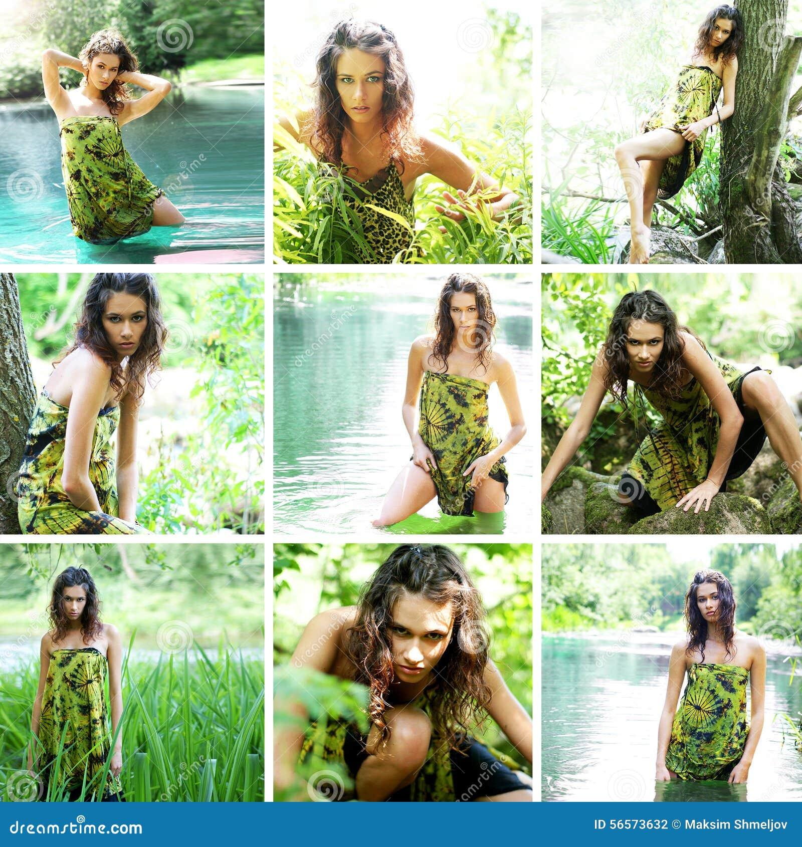 Download Όμορφη, προκλητική και άγρια τοποθέτηση κοριτσιών στη ζούγκλα Στοκ Εικόνες - εικόνα από κολάζ, τοποθέτηση: 56573632