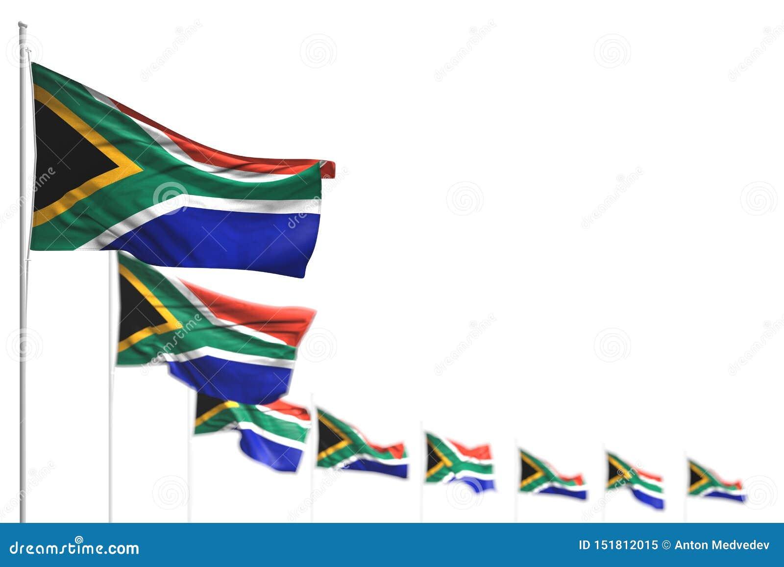 Όμορφη τρισδιάστατη απεικόνιση σημαιών Εργατικής Ημέρας - απομονωμένες οι η Νότια Αφρική σημαίες τοποθέτησαν τη διαγώνιος, εικόνα