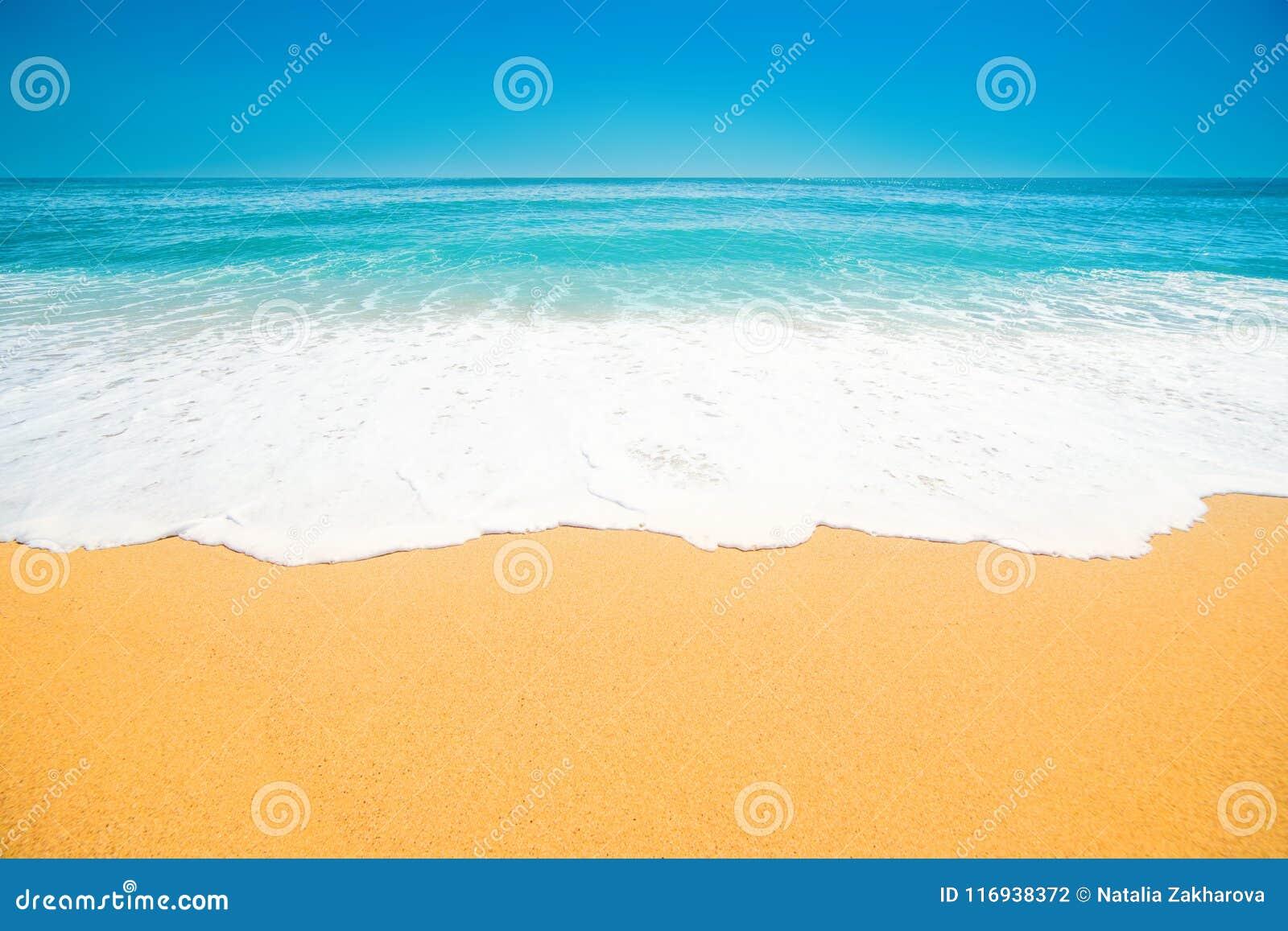 Όμορφη τροπική παραλία με το μαλακό κύμα του μπλε ωκεανού, άμμος και