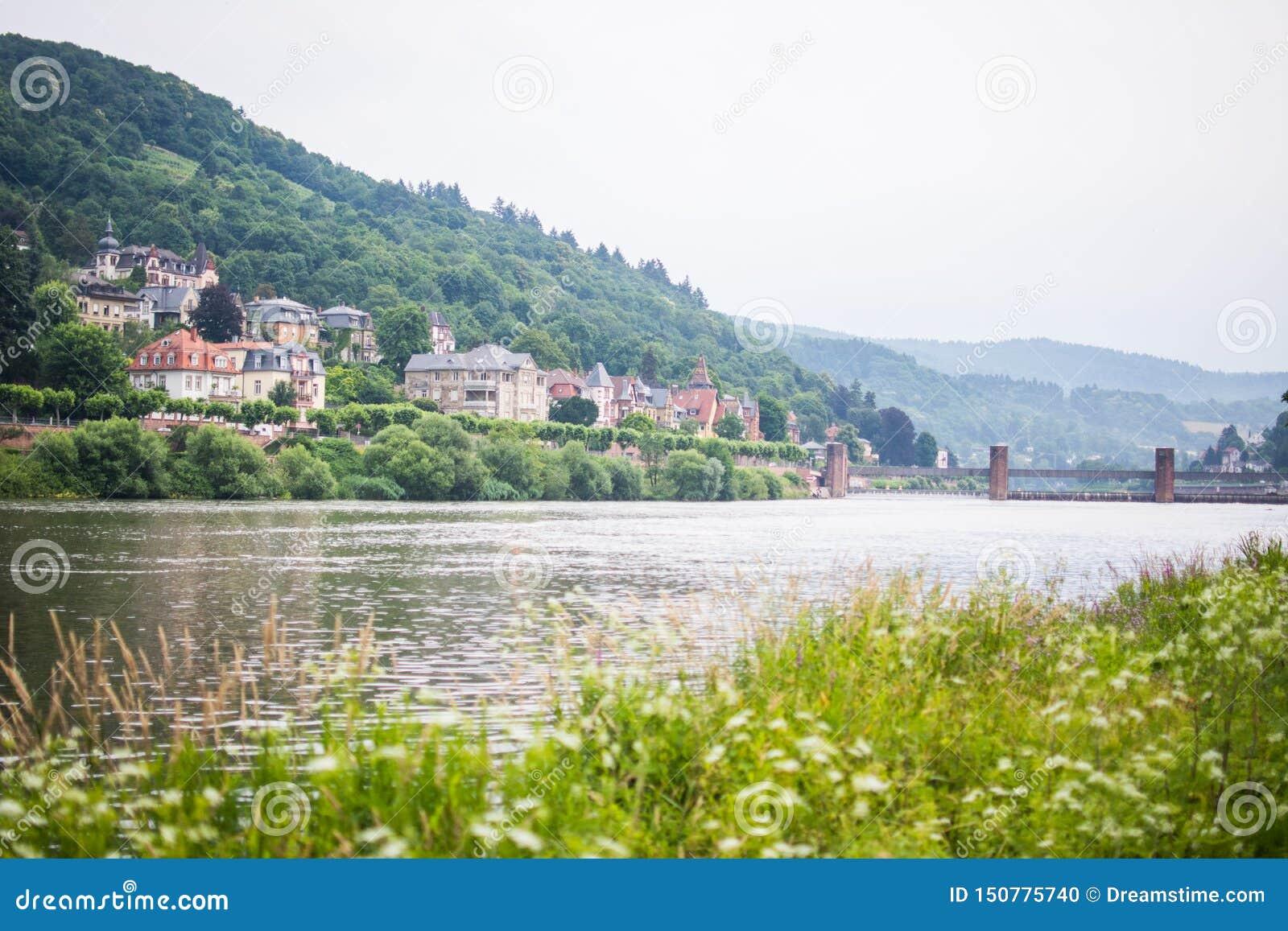 Όμορφη Χαϋδελβέργη το πρωί πέρα από τον ποταμό του Ρήνου με το τοπίο φύσης