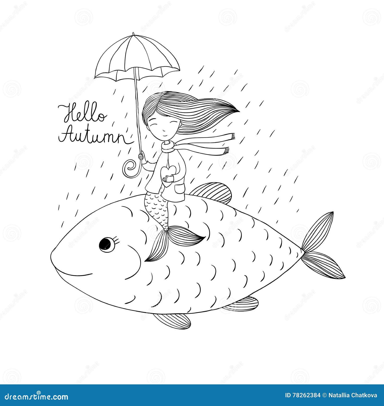 Όμορφος λίγη γοργόνα κάτω από μια ομπρέλα που επιπλέει στα μεγάλα ψάρια