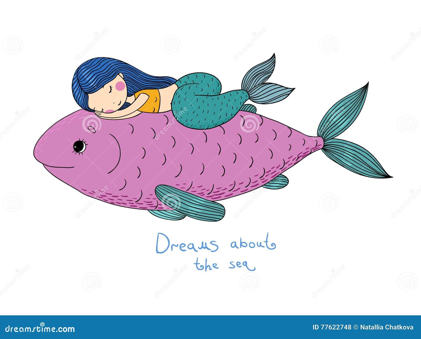 Όμορφος λίγη γοργόνα και μεγάλα ψάρια