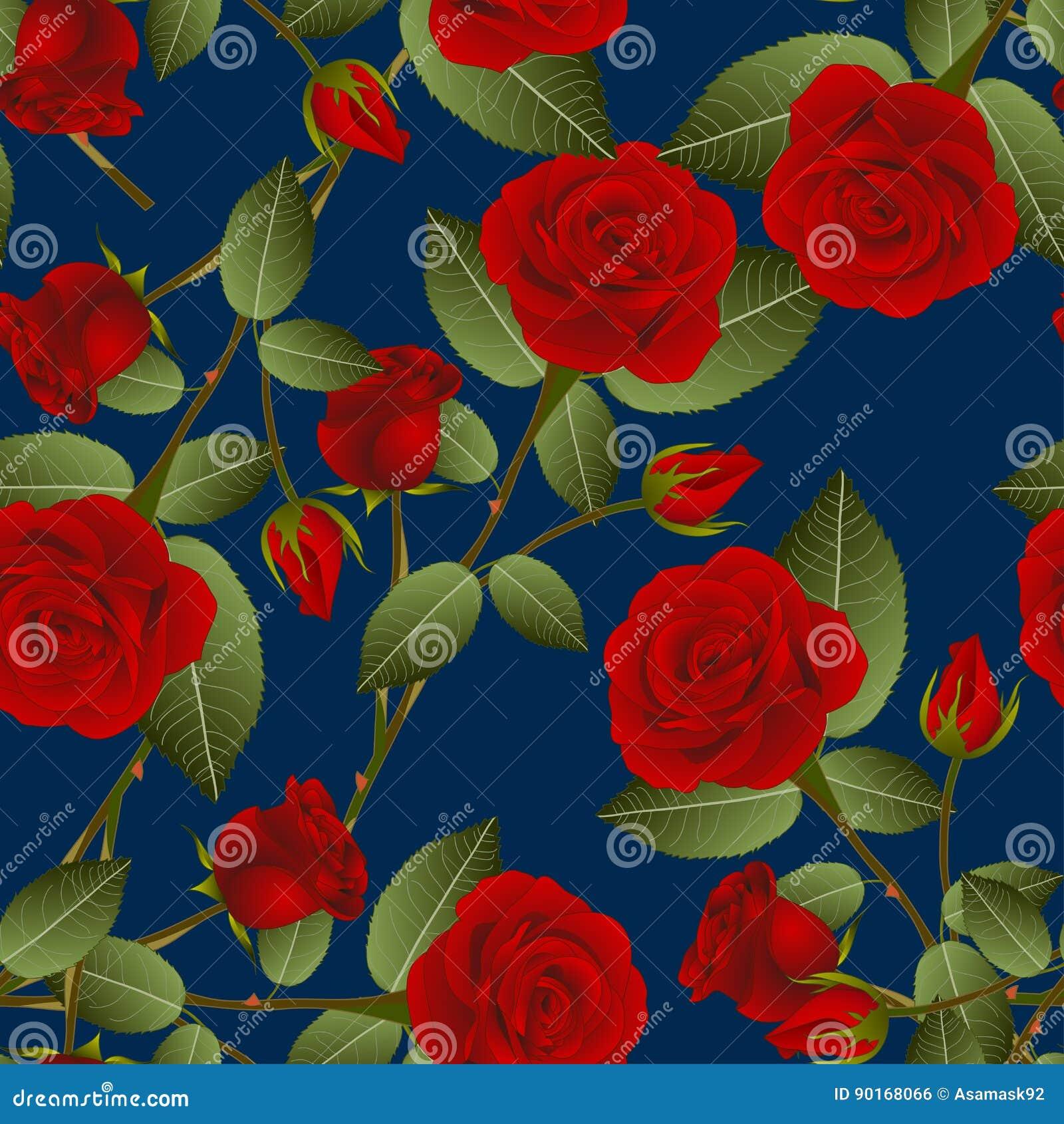 Όμορφος κόκκινος αυξήθηκε - Rosa στο μπλε υπόβαθρο λουλακιού διάνυσμα βαλεντίνων αγάπης απεικόνισης ημέρας ζευγών