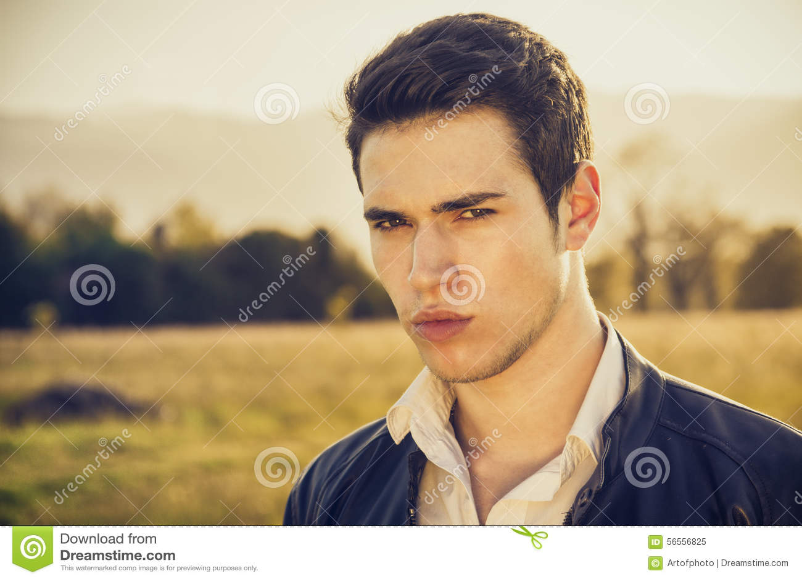Download Όμορφος νεαρός άνδρας στην επαρχία, μπροστά από Στοκ Εικόνα - εικόνα από τύπος, χορτοτάπητας: 56556825