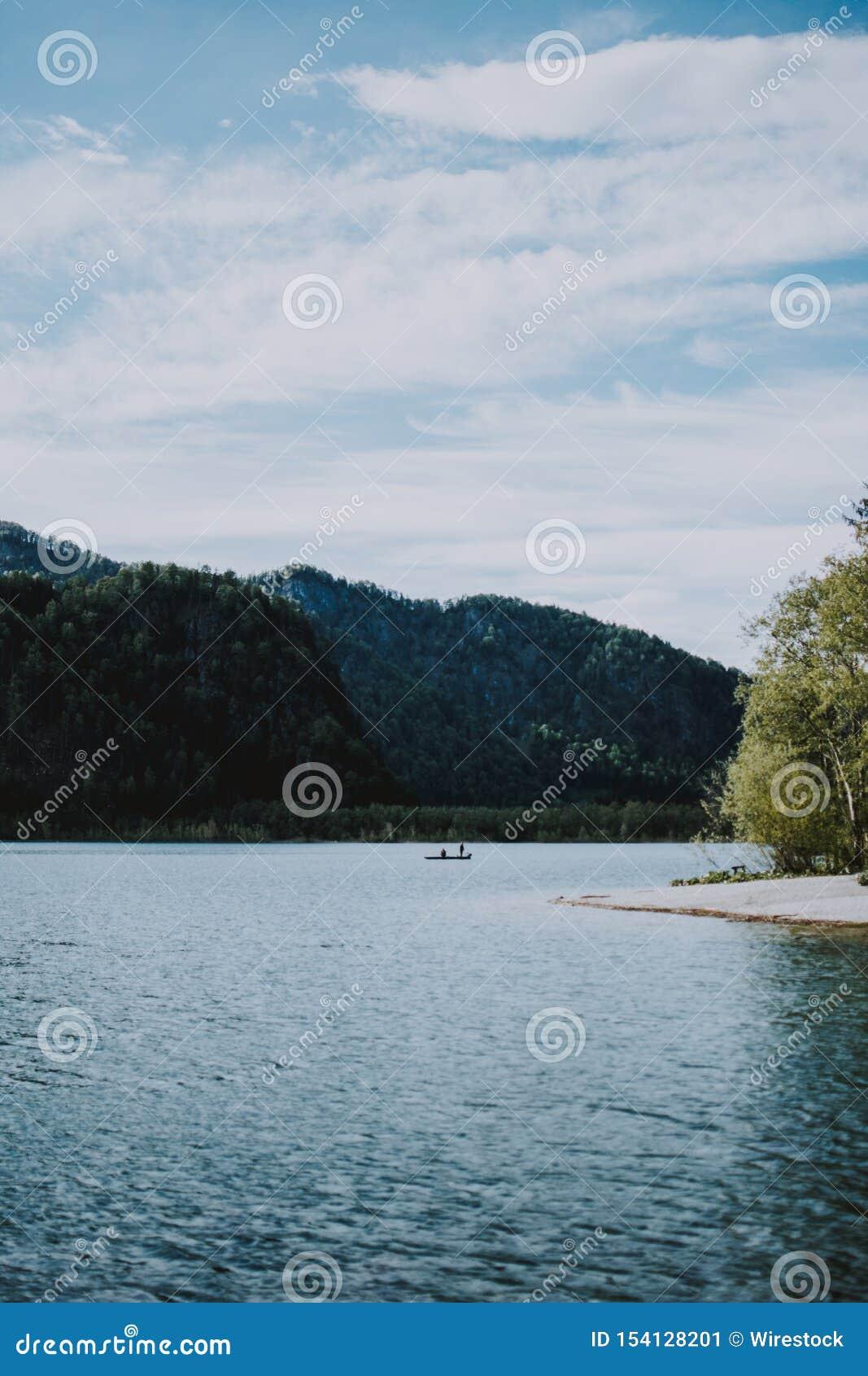 Όμορφος πυροβολισμός του τοπίου της λίμνης και του δάσους με την πρασινάδα