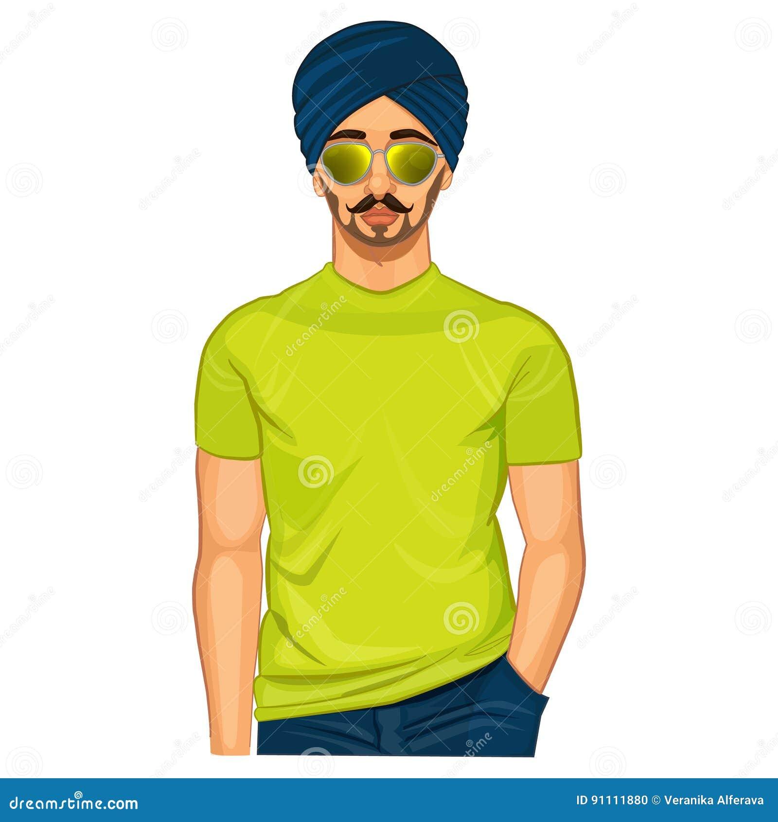 Όμορφος σιχ ινδικός τύπος