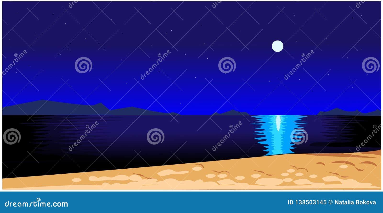 όμορφο διάνυσμα νύχτας τοπίων απεικόνισης