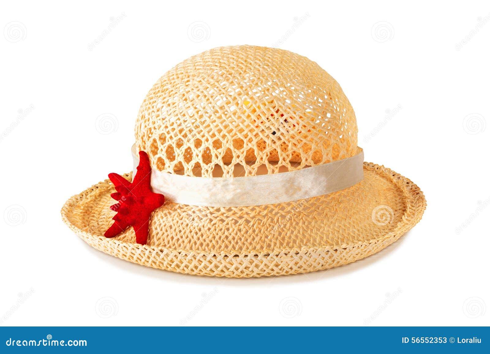 Download Όμορφο καπέλο αχύρου με τον αστερία Στοκ Εικόνα - εικόνα από θάλασσα, κάλυμμα: 56552353