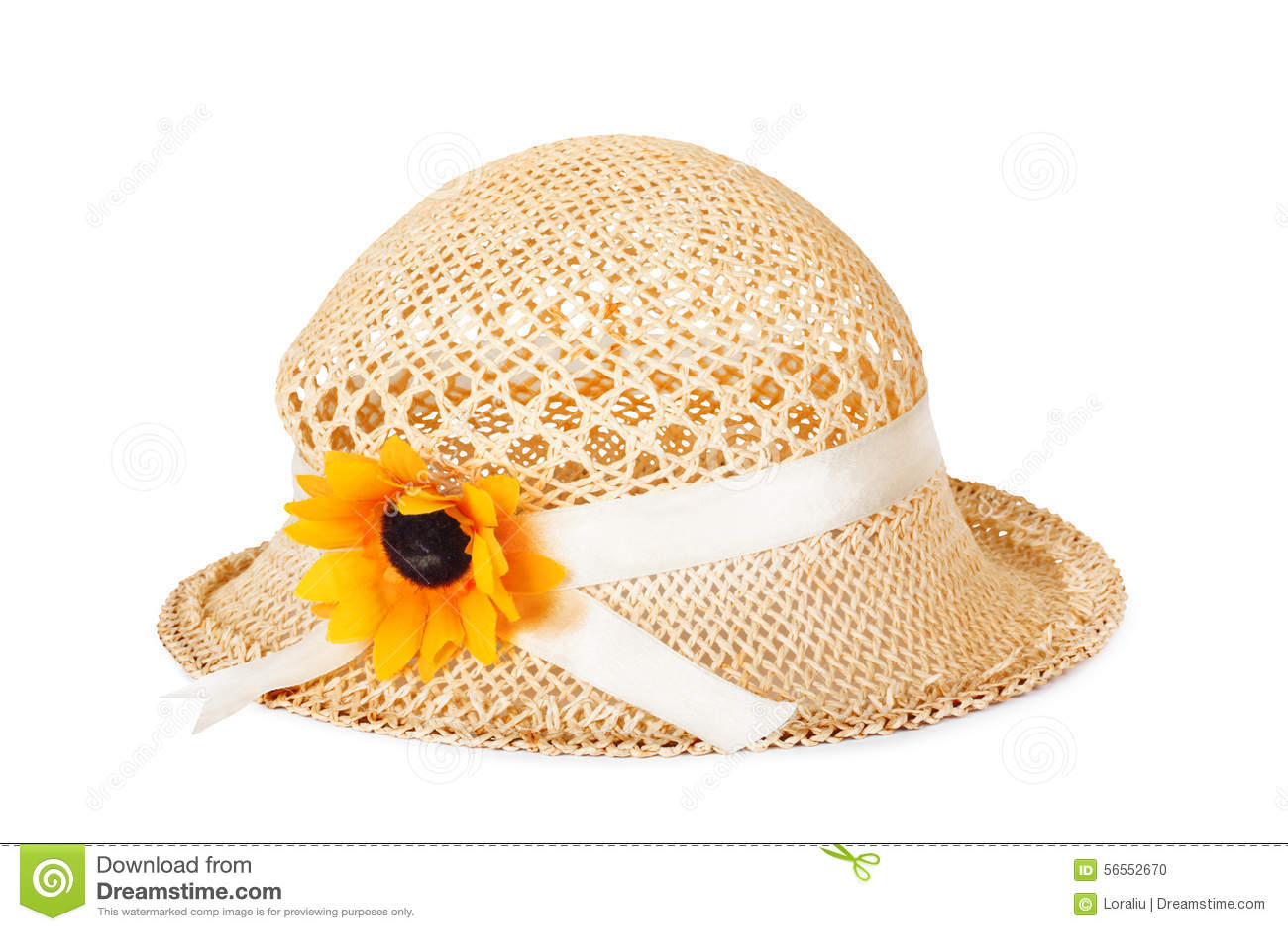 Download Όμορφο καπέλο αχύρου με το λουλούδι Στοκ Εικόνες - εικόνα από headdress, ενδύματα: 56552670