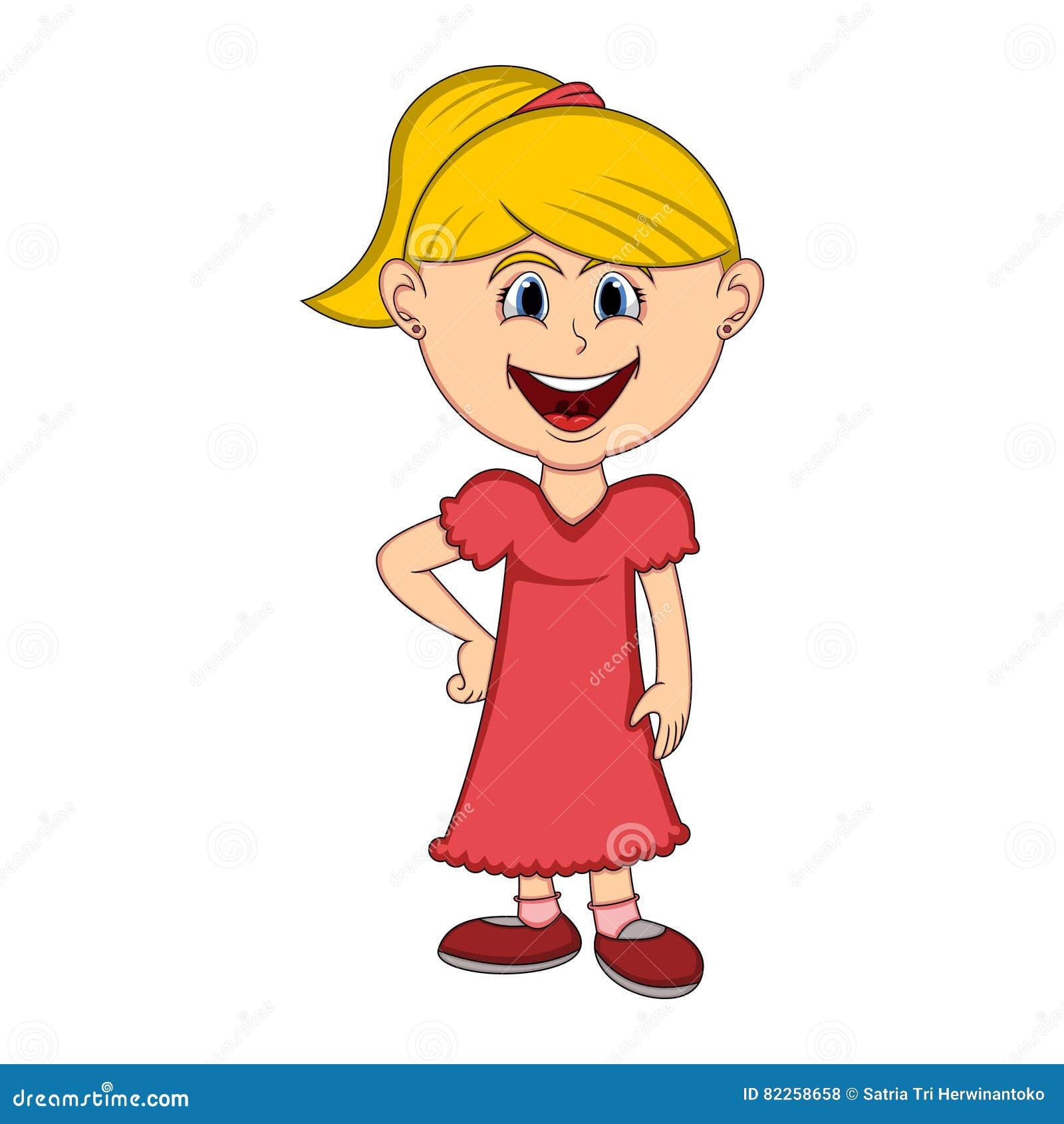 5cdcab0e46c7 Όμορφο κορίτσι με τα μακριά κινούμενα σχέδια φορεμάτων Διανυσματική ...