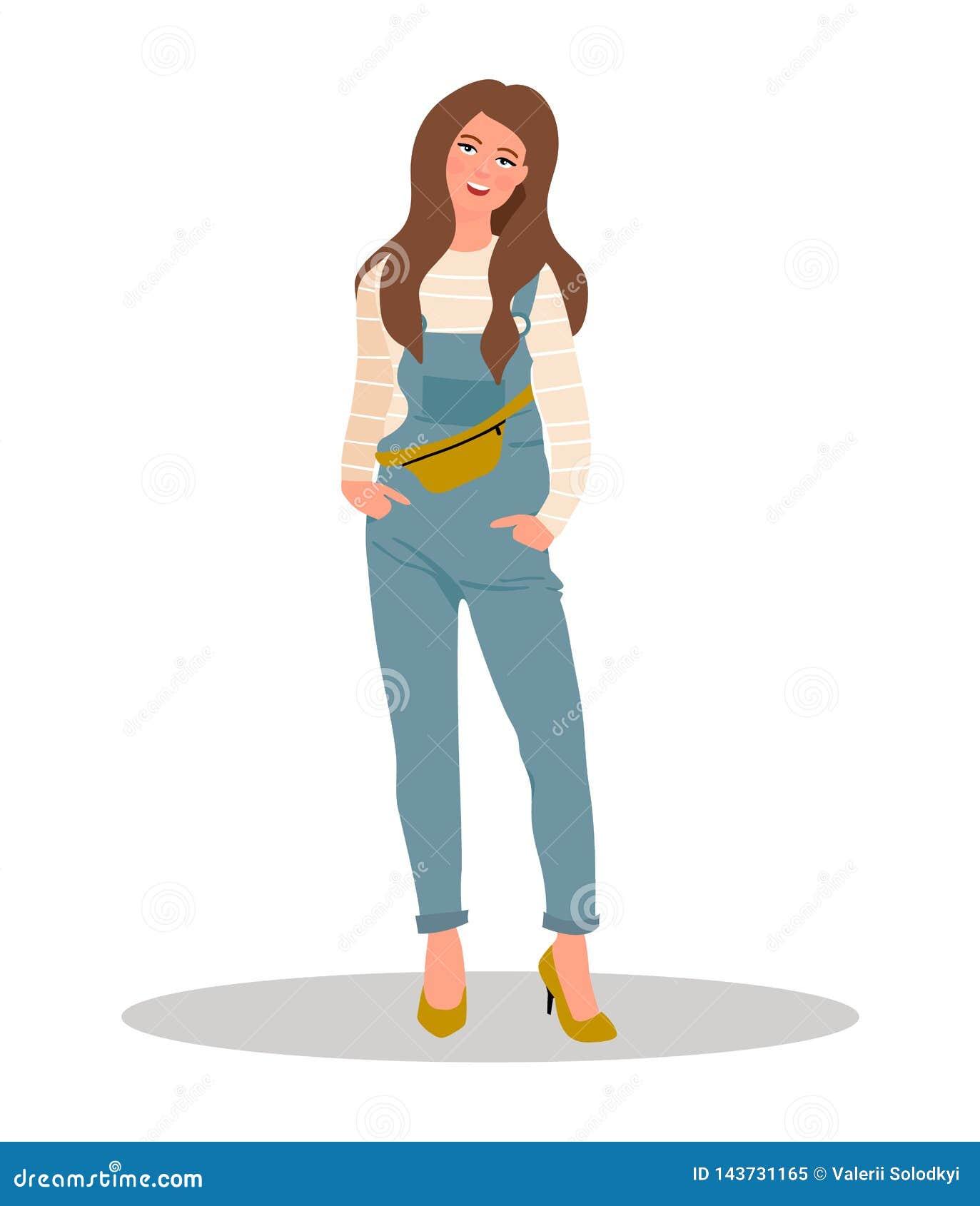 Όμορφο κορίτσι στα τζιν συνολικά Όμορφο κορίτσι στις φόρμες τζιν επίσης corel σύρετε το διάνυσμα απεικόνισης