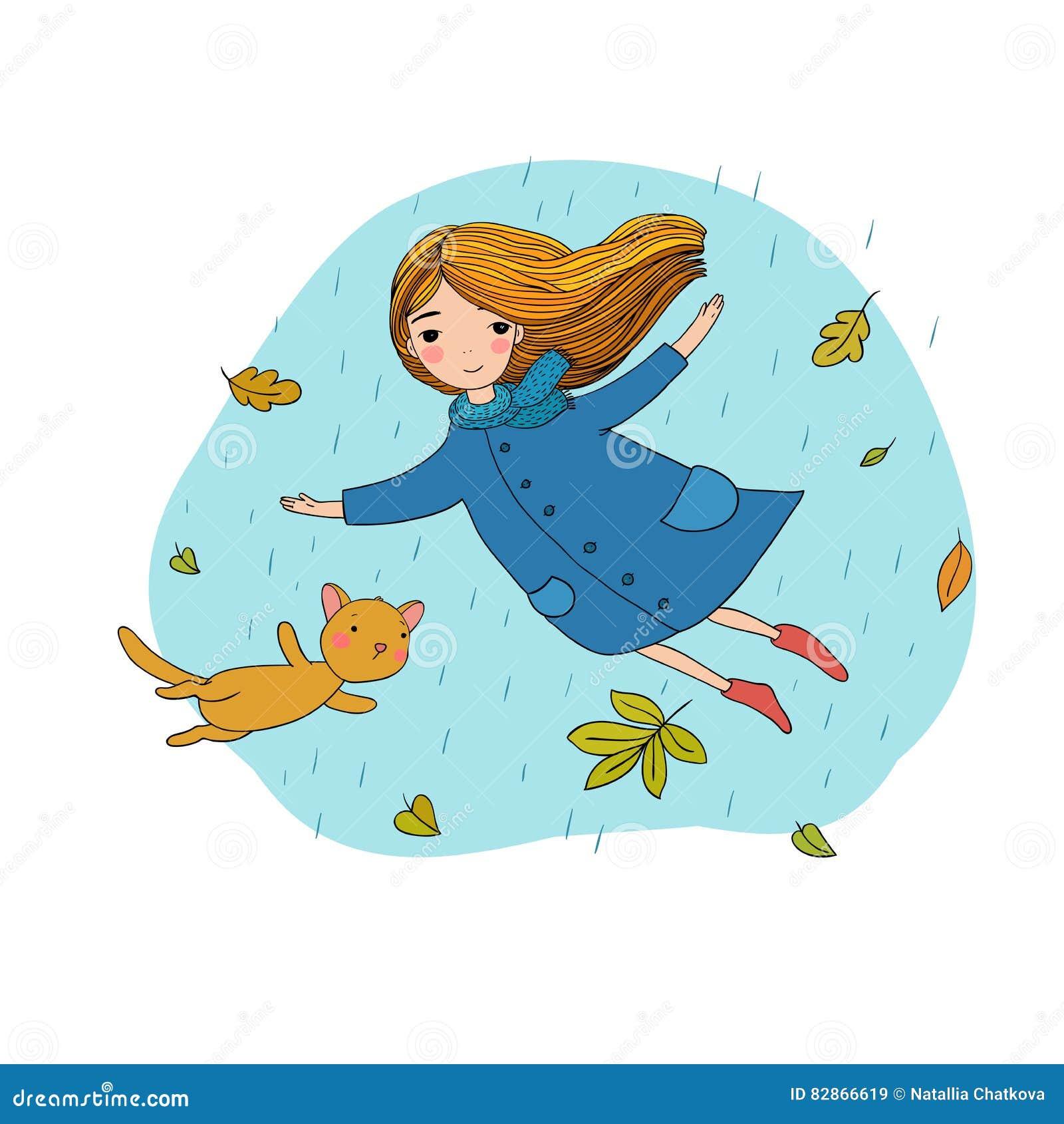 Όμορφο μικρό κορίτσι και μια χαριτωμένη γάτα κινούμενων σχεδίων που πετά με τα φύλλα φθινοπώρου