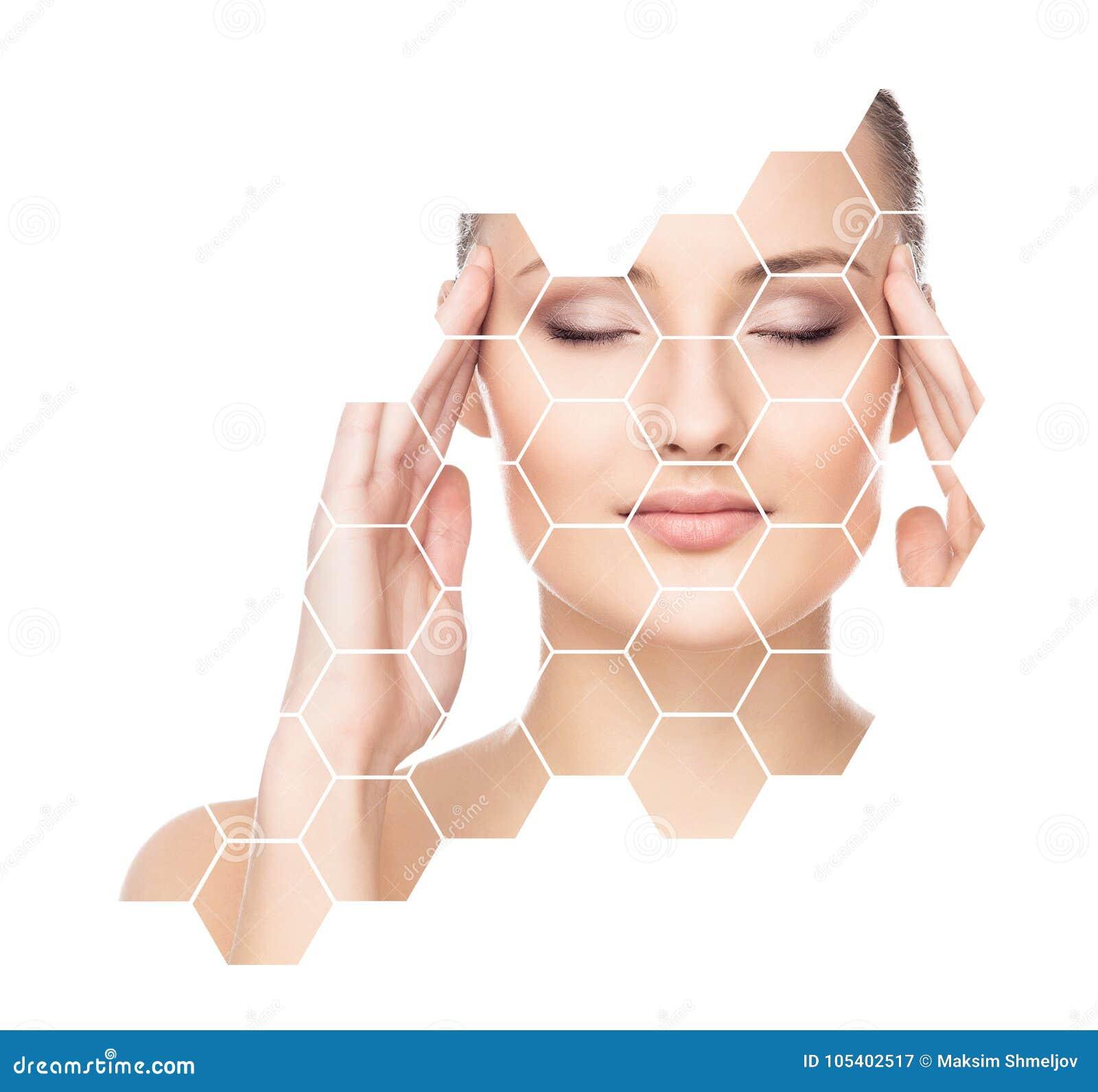 Download Όμορφο πρόσωπο του νέου και υγιούς κοριτσιού Πλαστική χειρουργική, φροντίδα δέρματος, καλλυντικά και έννοια ανύψωσης προσώπου Στοκ Εικόνα - εικόνα από αιθέρα, χροιά: 105402517