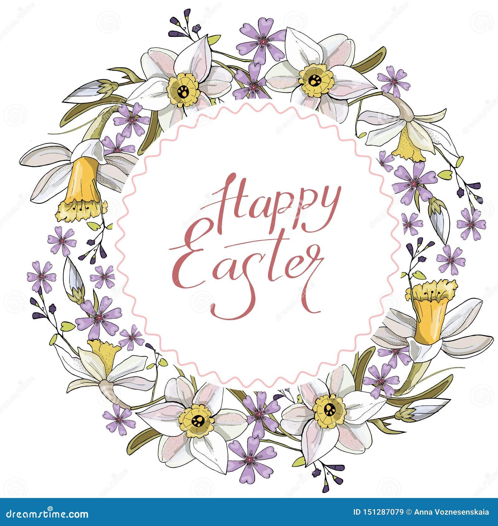 Όμορφο στεφάνι άνοιξη των daffodils και των πορφυρών λουλουδιών σε ένα άσπρο υπόβαθρο