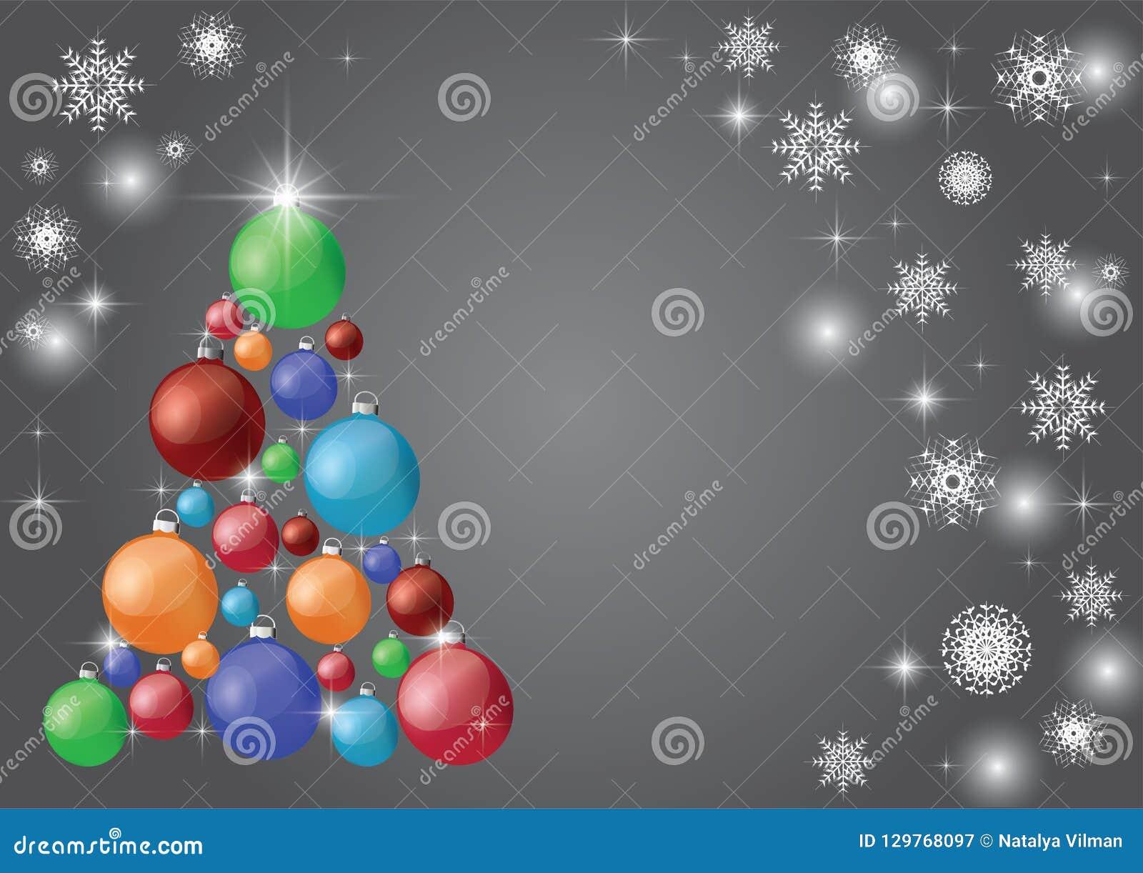 Όμορφο σύγχρονο χριστουγεννιάτικο δέντρο με τις σφαίρες σε ένα γκρίζο υπόβαθρο