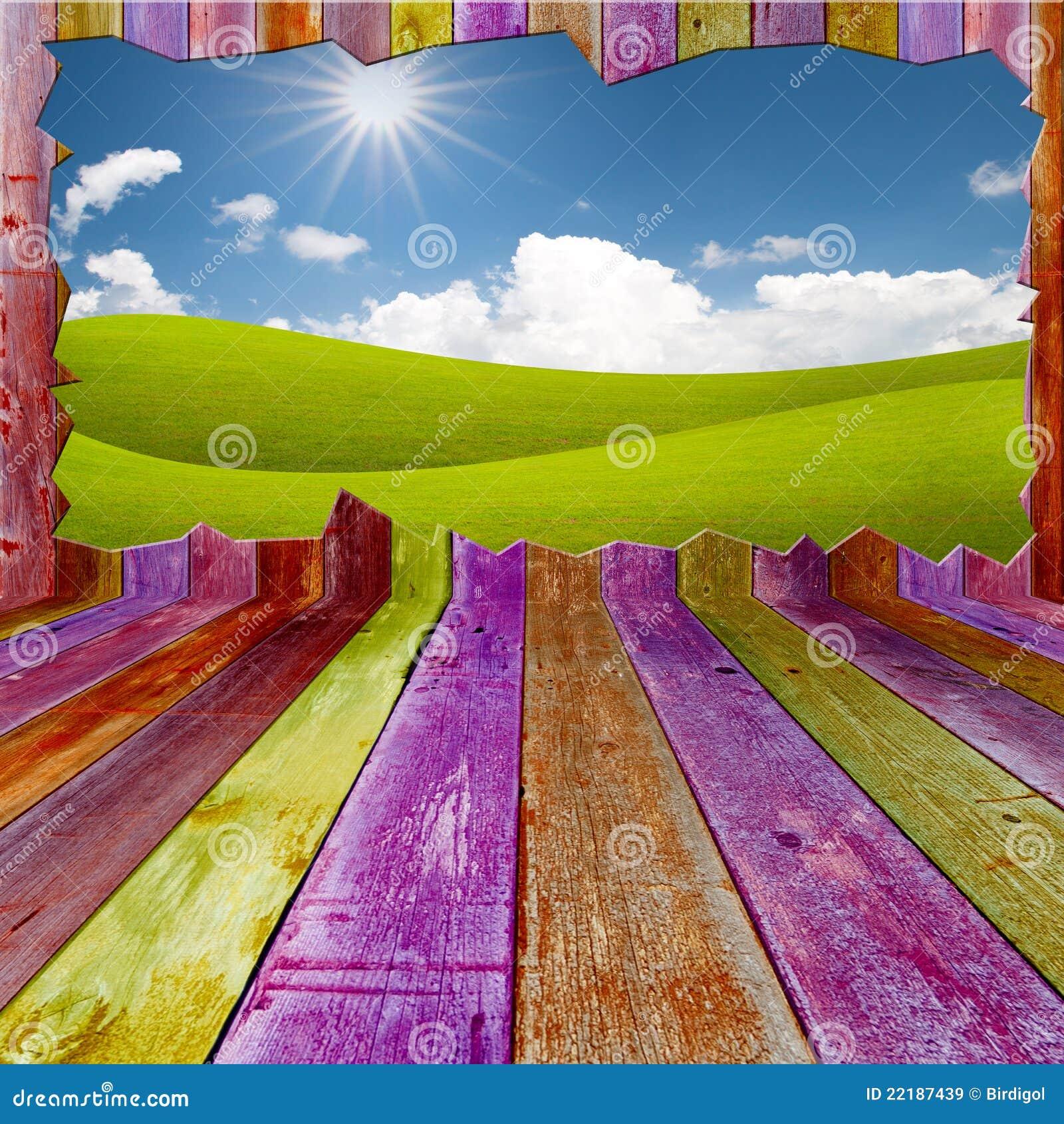 Όμορφο τοπίο έξω από το ζωηρό ξύλινο δωμάτιο