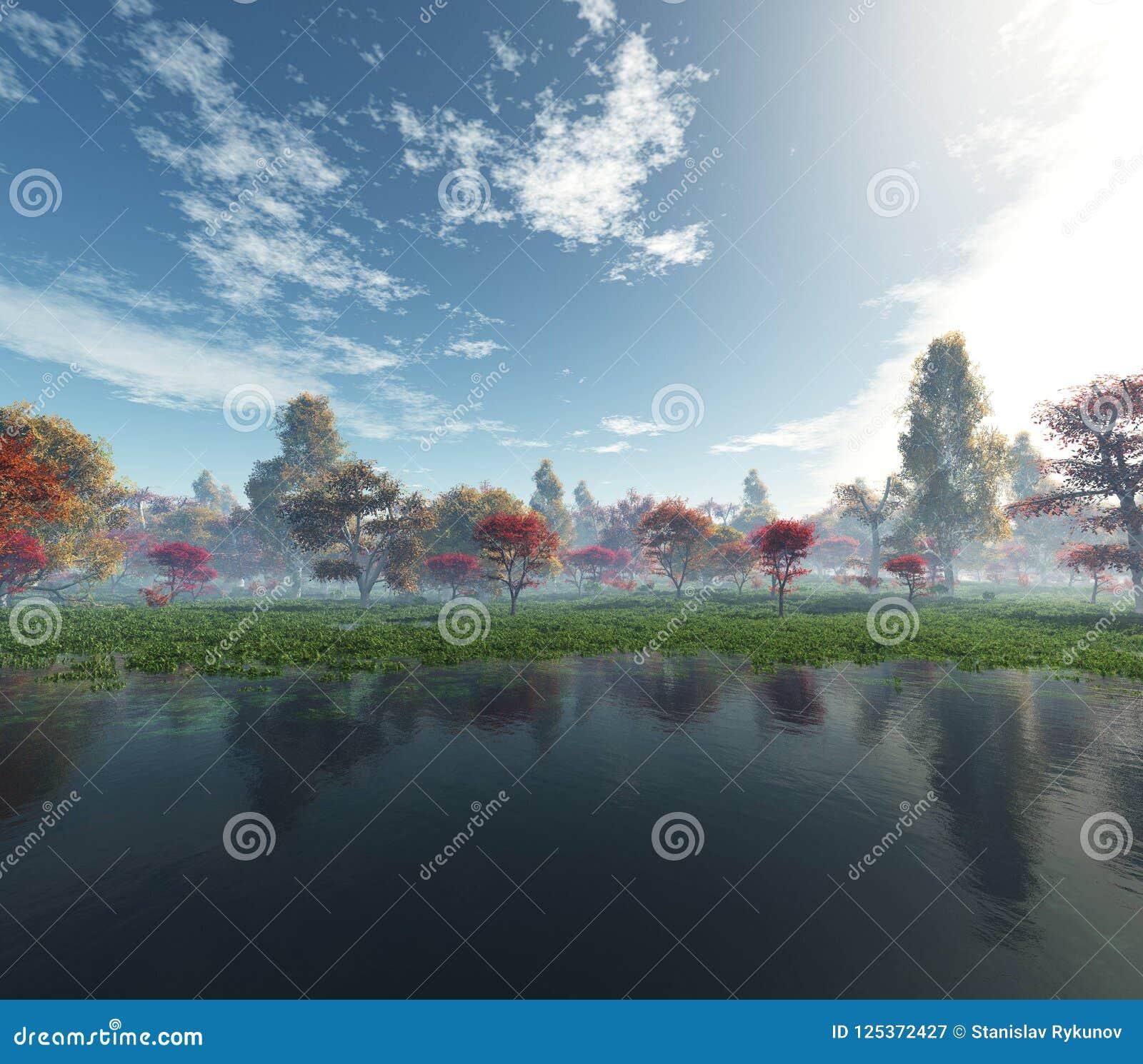 όμορφο τοπίο φθινοπώρου Δέντρα φθινοπώρου πέρα από το νερό