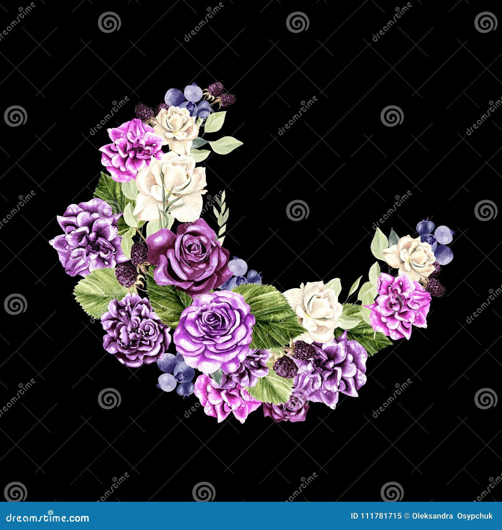 Όμορφο, φωτεινό στεφάνι watercolor με τα τριαντάφυλλα, peony, τον ευκάλυπτο και berryes