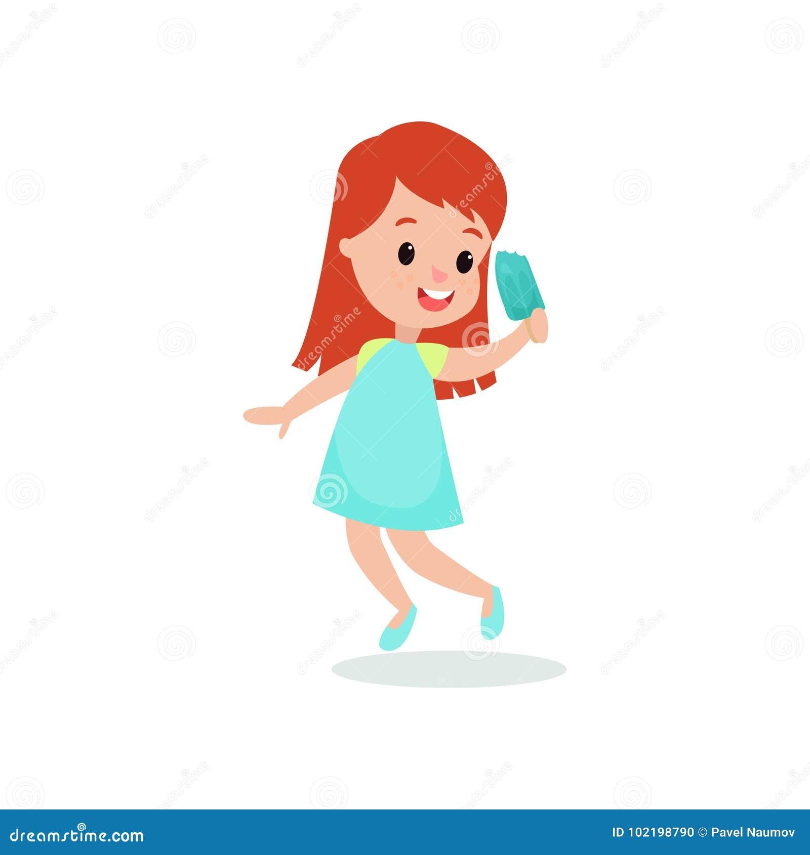 d6788302f2b5 Όμορφο redhead κορίτσι που αισθάνεται ευχαριστημένο από τη διανυσματική  απεικόνιση κινούμενων σχεδίων παγωτού της