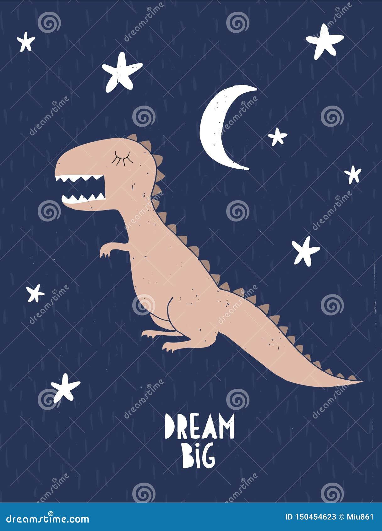 Όνειρο μεγάλο Παιδική αφίσα δεινοσαύρων ύφους Λίγος δράκος που απομονώνεται σε ένα έναστρο υπόβαθρο νύχτας