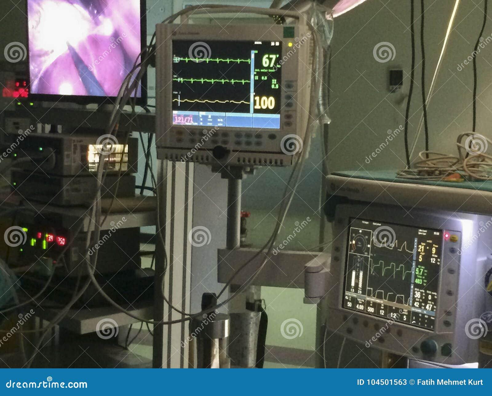 Όργανο ελέγχου Ekg και μηχανή αναισθησίας στο δωμάτιο λειτουργίας