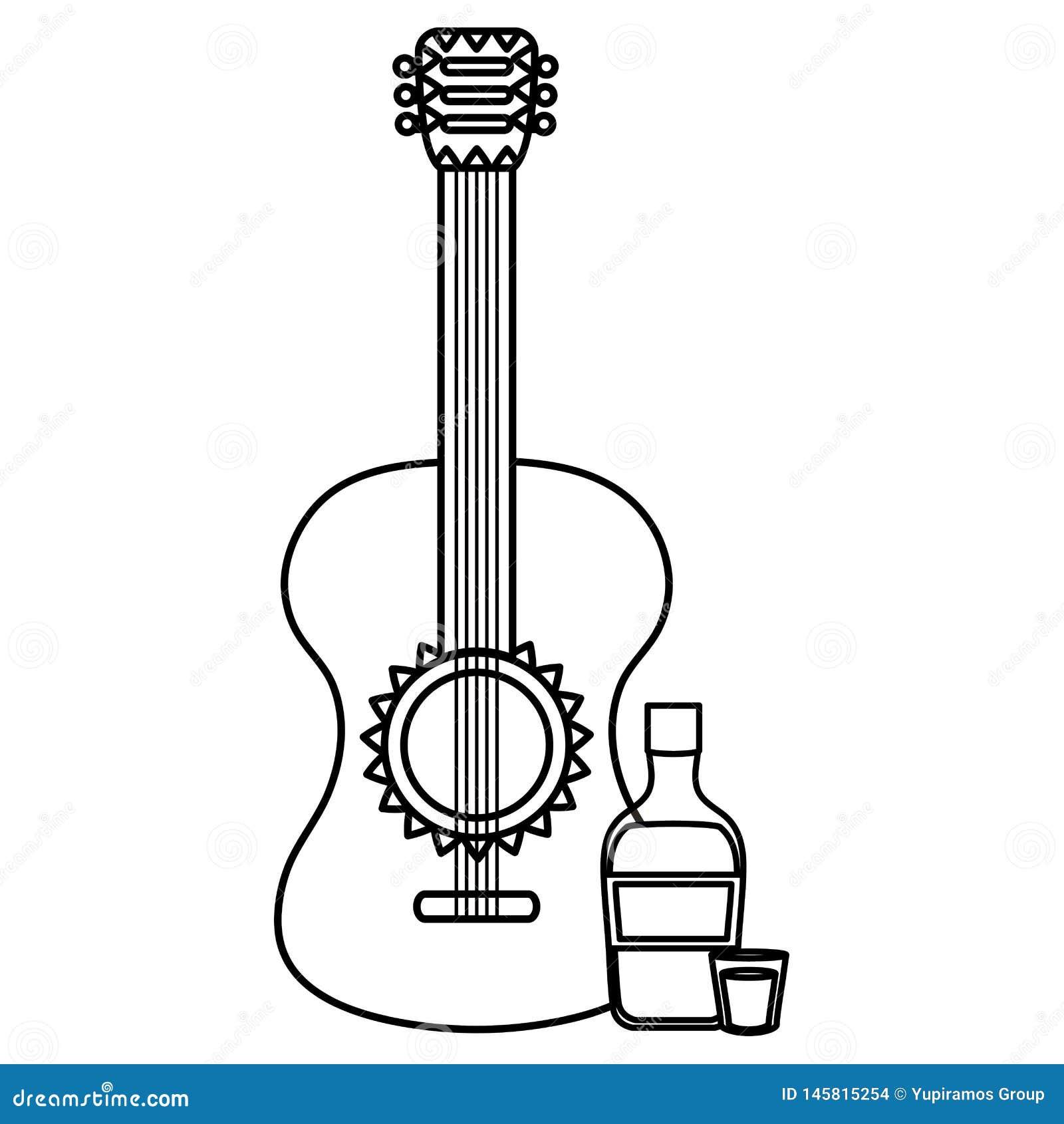 Όργανο κιθάρων με το μπουκάλι tequila