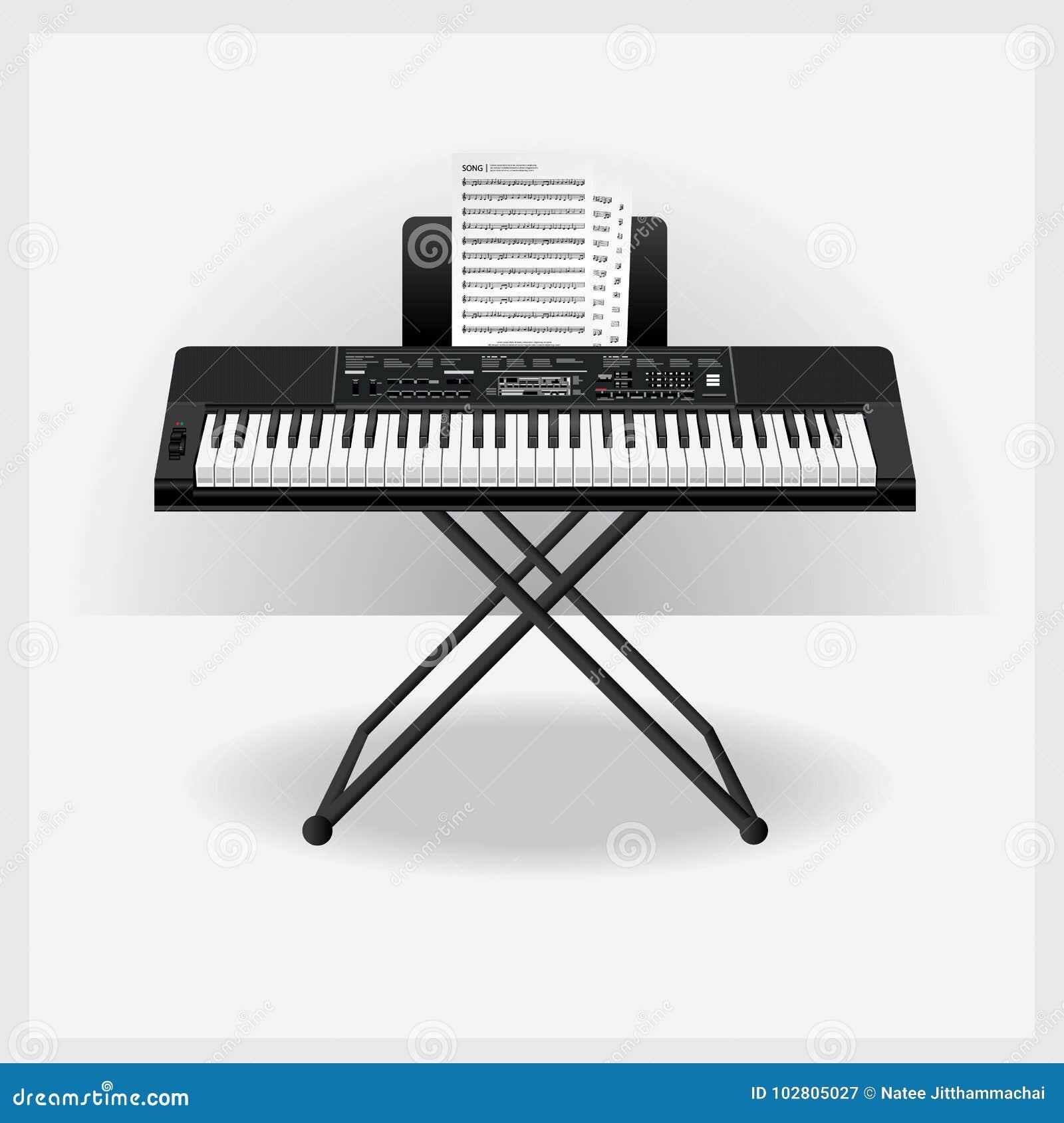 Όργανο πληκτρολογίων με τη σημείωση τραγουδιού