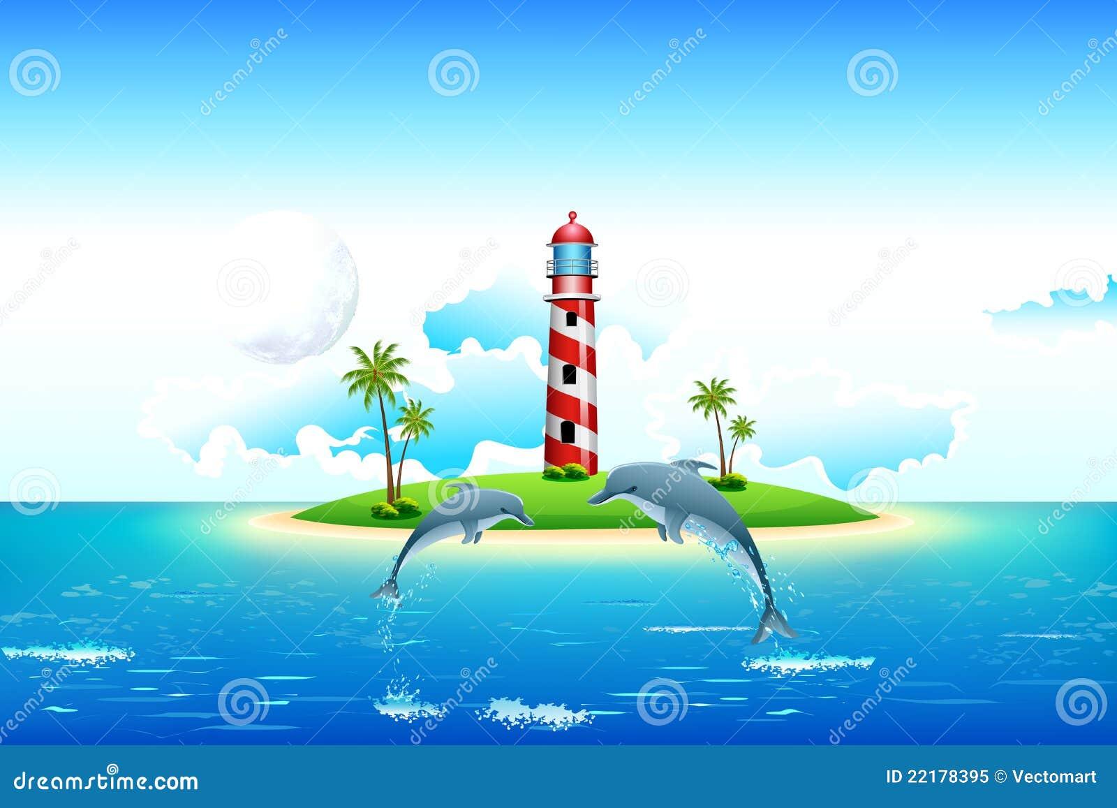όψη θάλασσας φάρων δελφιν&io