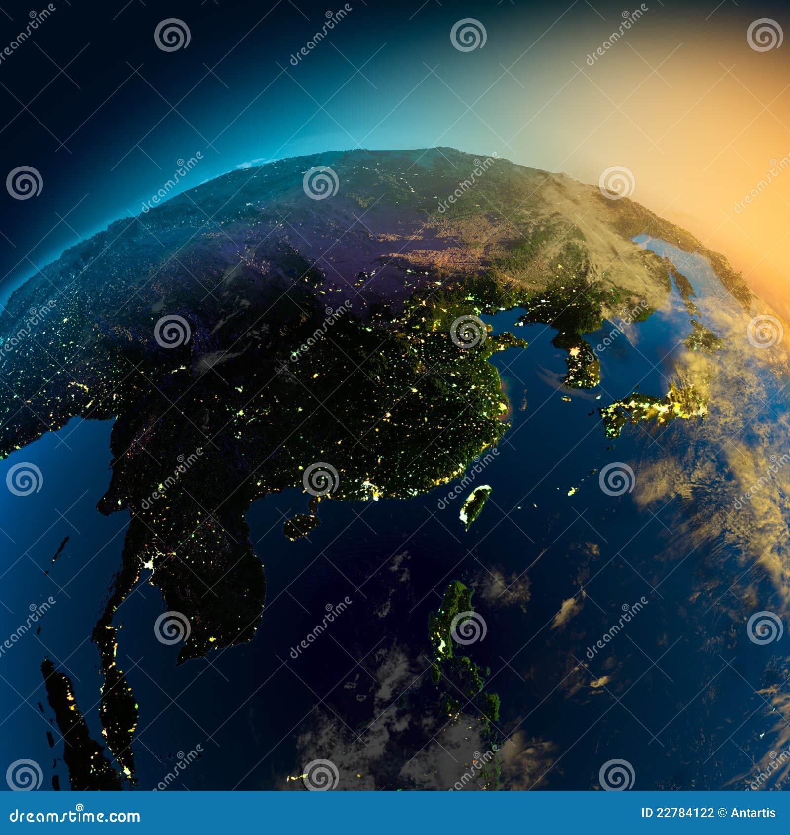 Όψη νύχτας της Ασίας από