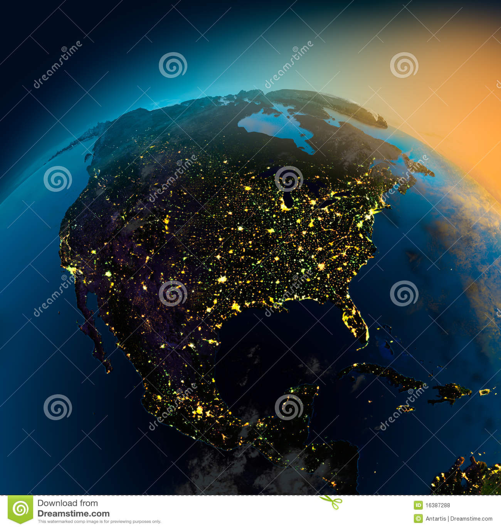 Όψη νύχτας της Βόρειας Αμερικής από