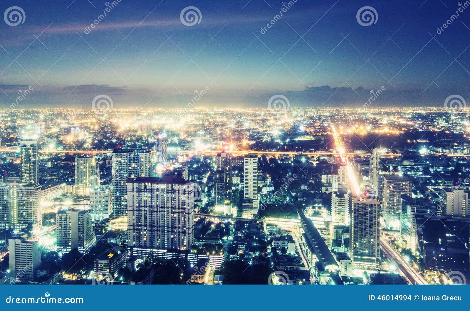 Όψη νύχτας της Μπανγκόκ