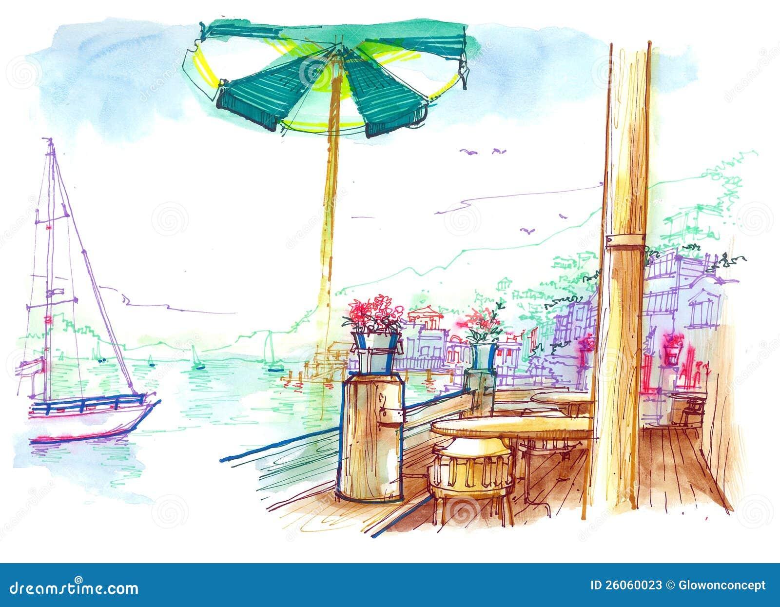 Όψη Sausalito από την απεικόνιση καφέδων κόλπων
