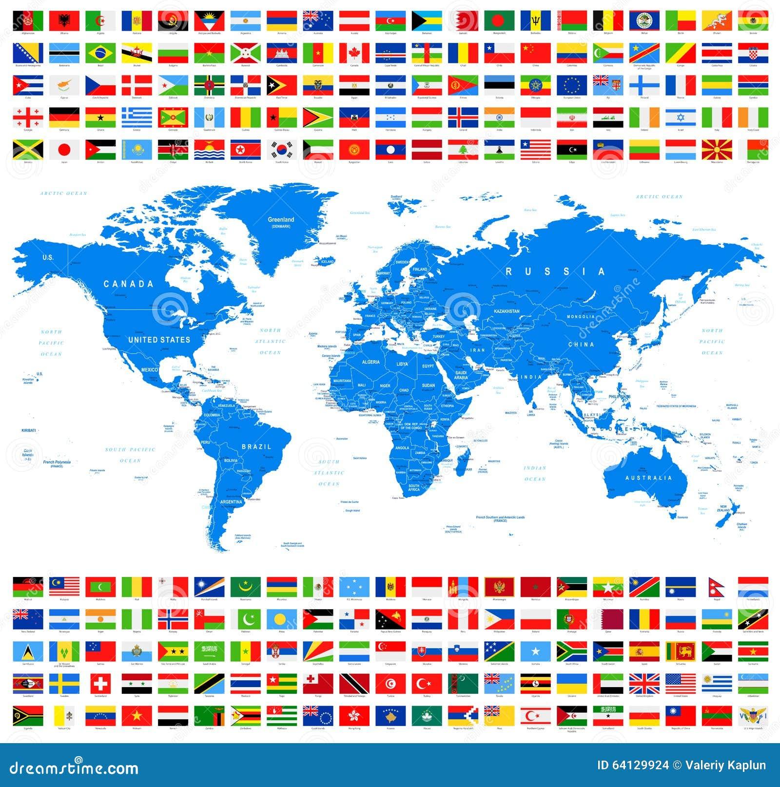 Όλοι οι σημαίες και ο παγκόσμιος χάρτης Azur