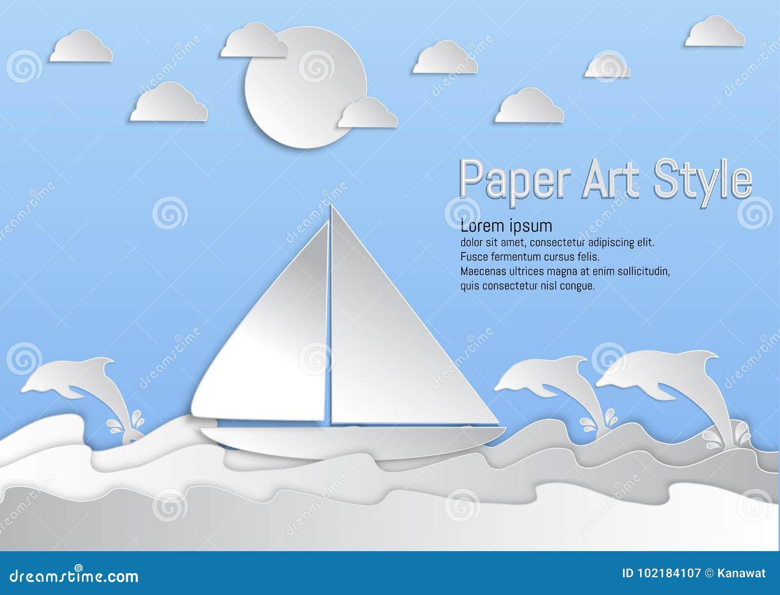 ύφος τέχνης εγγράφου Θάλασσα και κύματα με sailboat και το δελφίνι επίσης corel σύρετε το διάνυσμα απεικόνισης