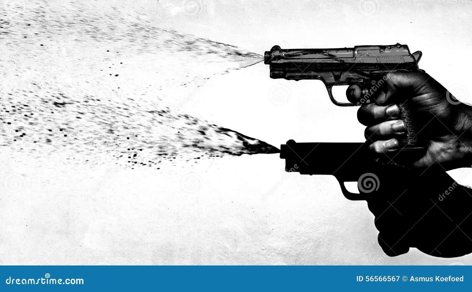 Download Ύφος της δεκαετίας του '70 πιστολιών νερού πυροβολισμού χεριών, γραπτό Στοκ Εικόνα - εικόνα από έκδοση, σιτάρι: 56566567