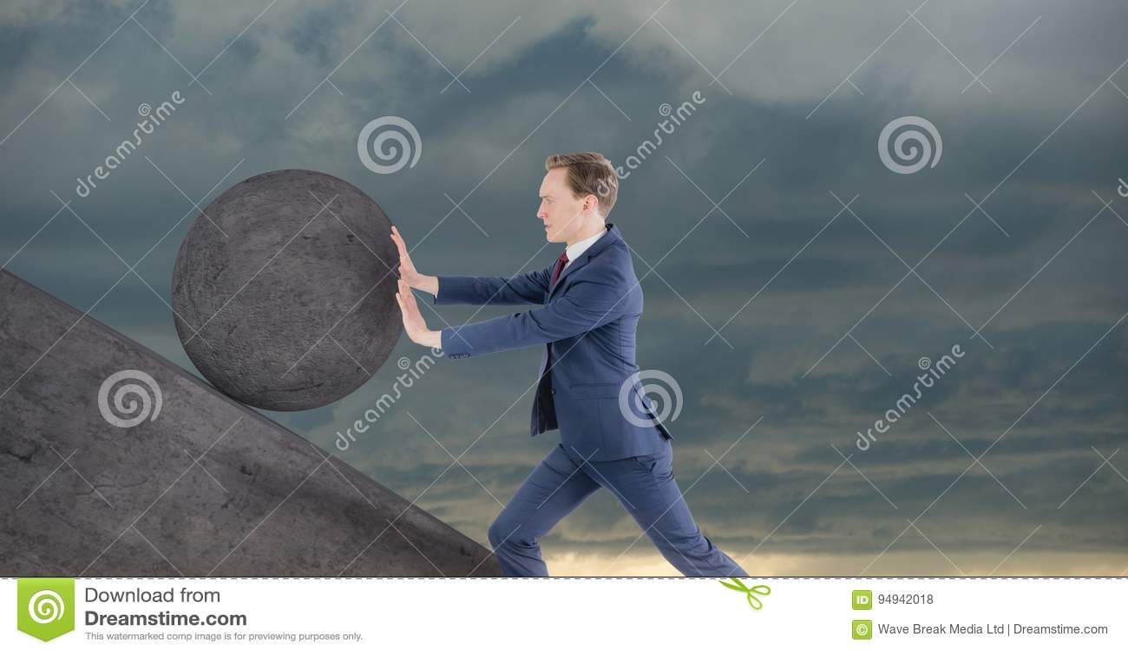 Ώθηση ατόμων που κυλά γύρω από το βράχο