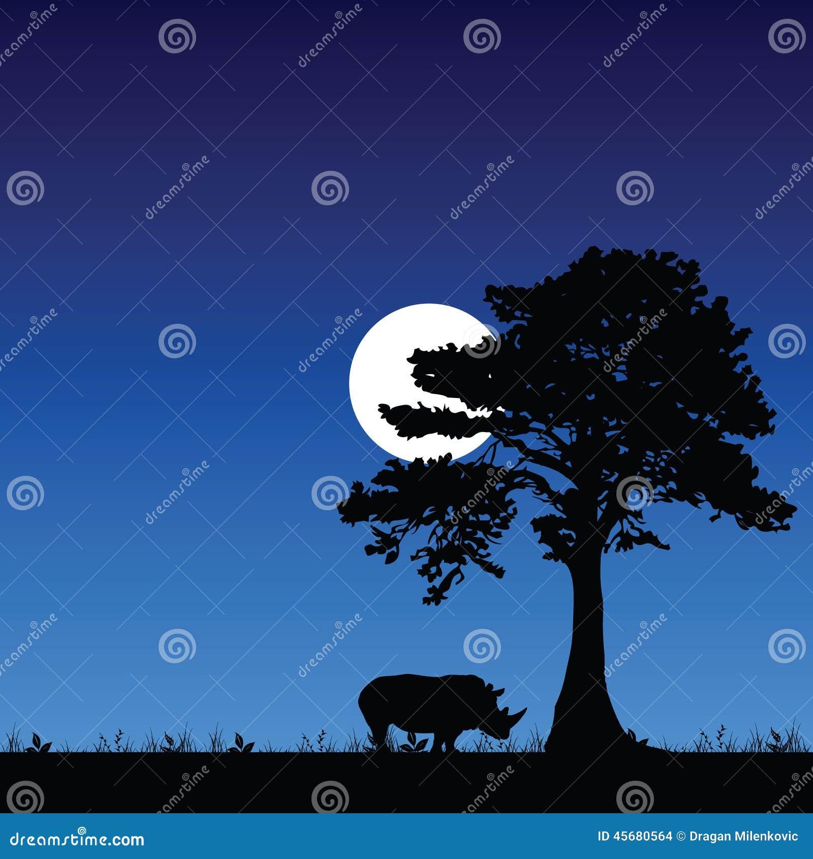 犀牛在树和月亮下 向量例证